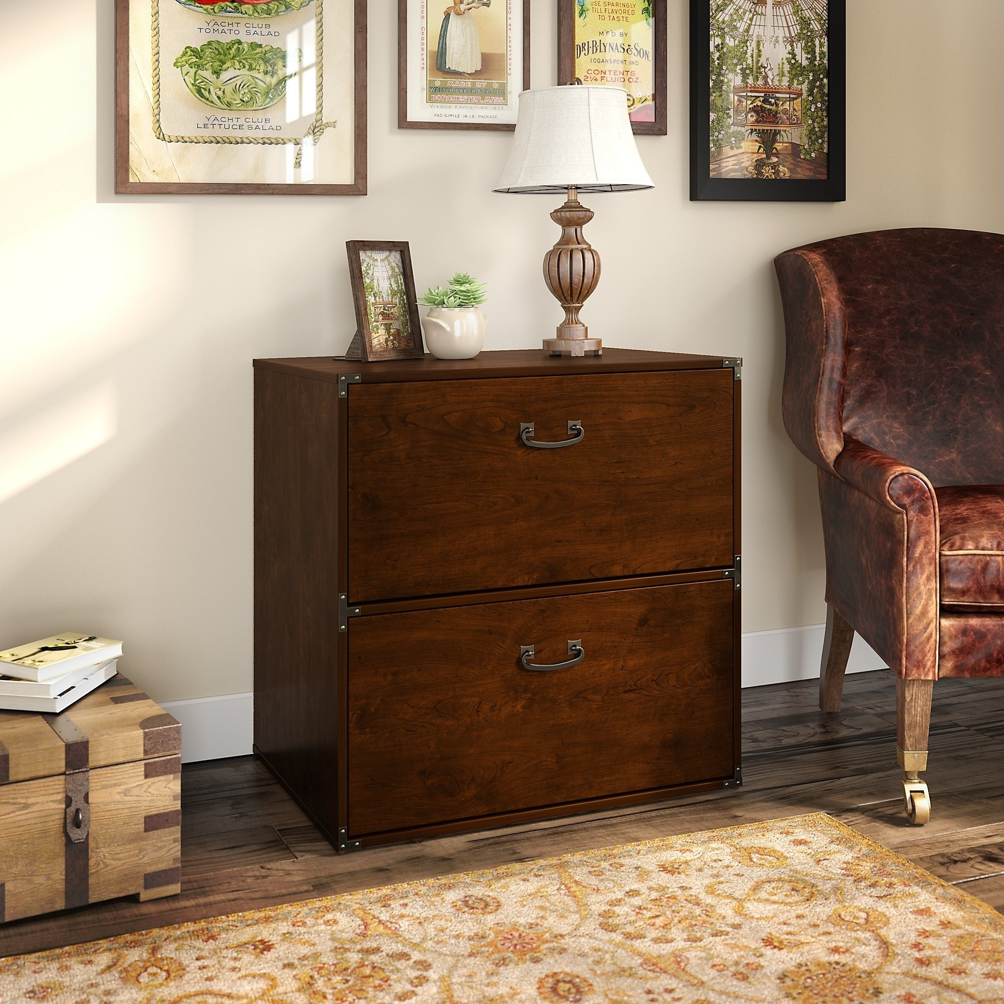 Shop kathy ireland office ironworks lateral file cabinet in coastal cherry free shipping today overstock com 14037844