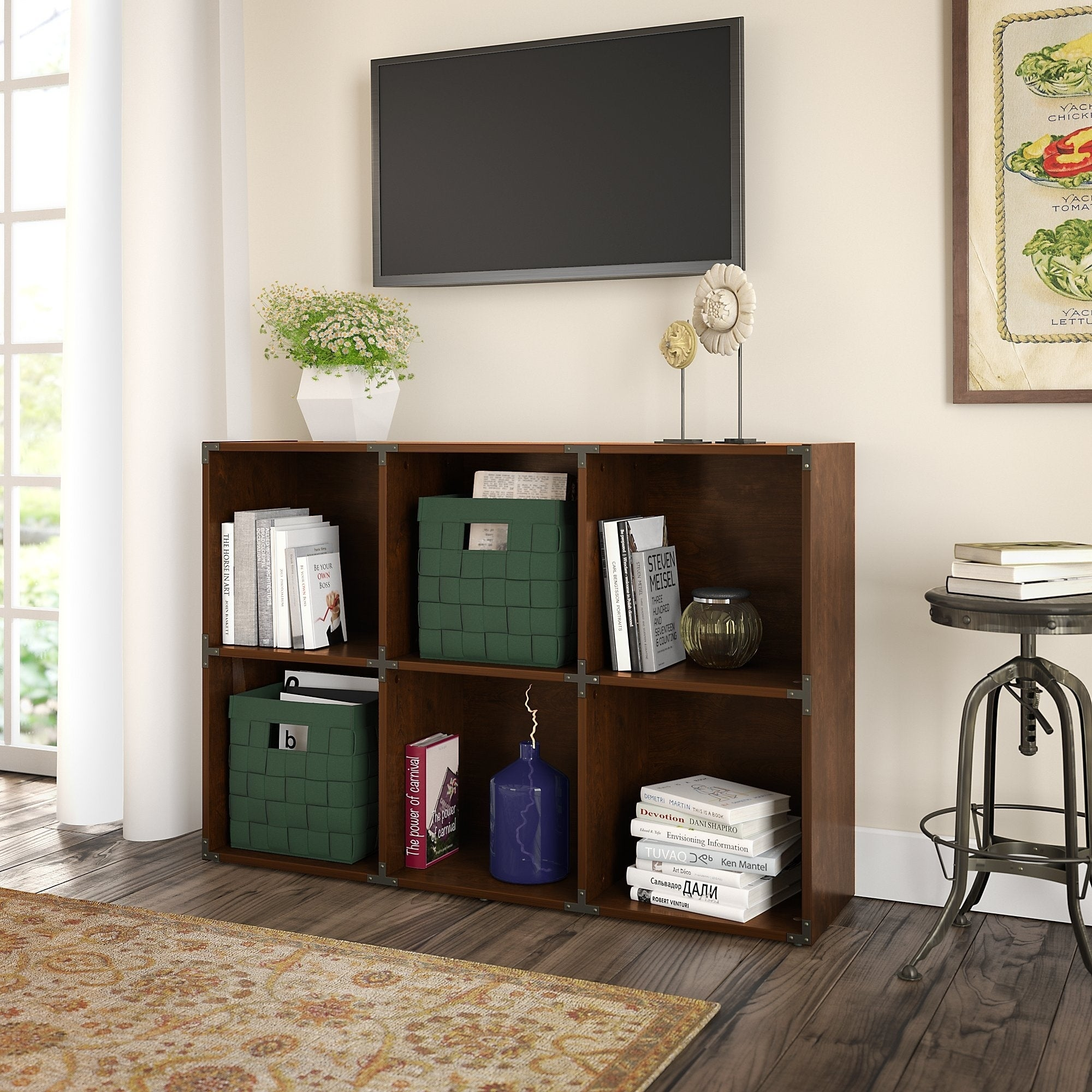 Shop Kathy Ireland® Office Ironworks 6 Cube Bookcase In Coastal Cherry    Free Shipping Today   Overstock.com   14037849