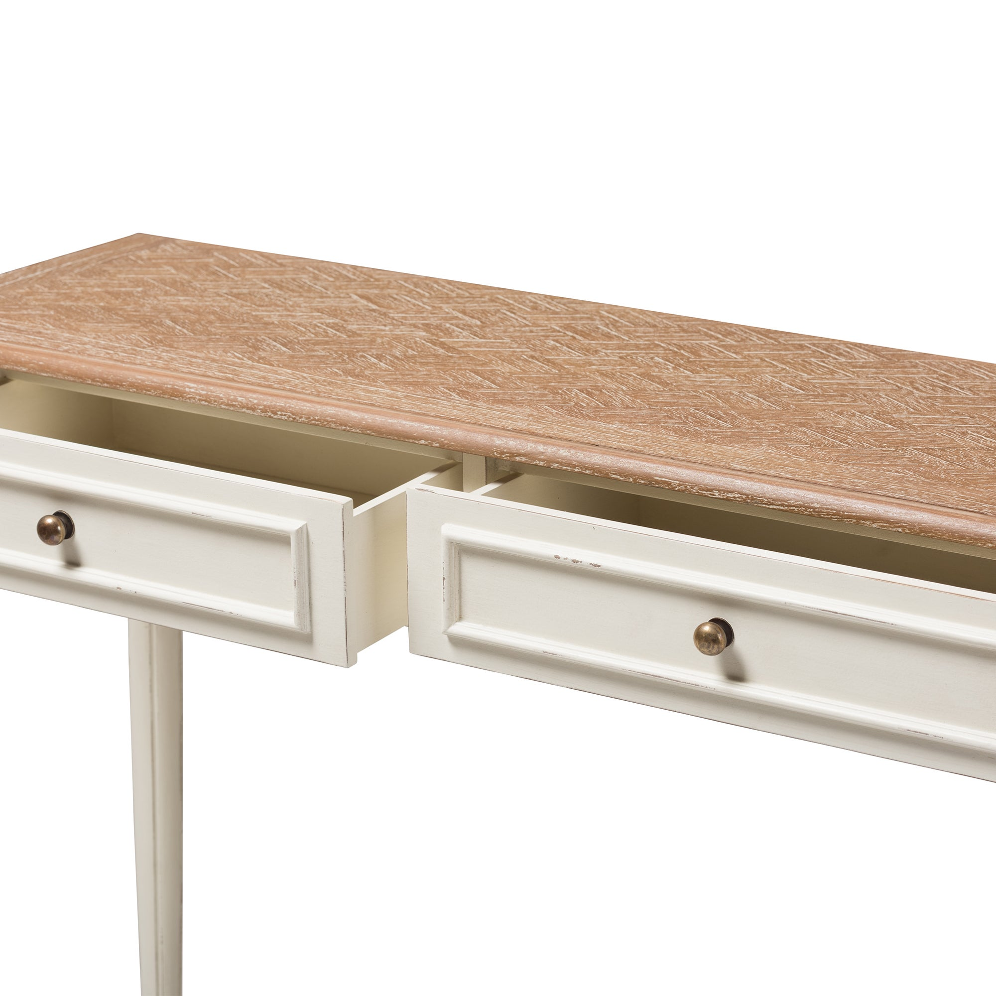 Baxton Studio French Provincial Weathered Oak and Whitewash