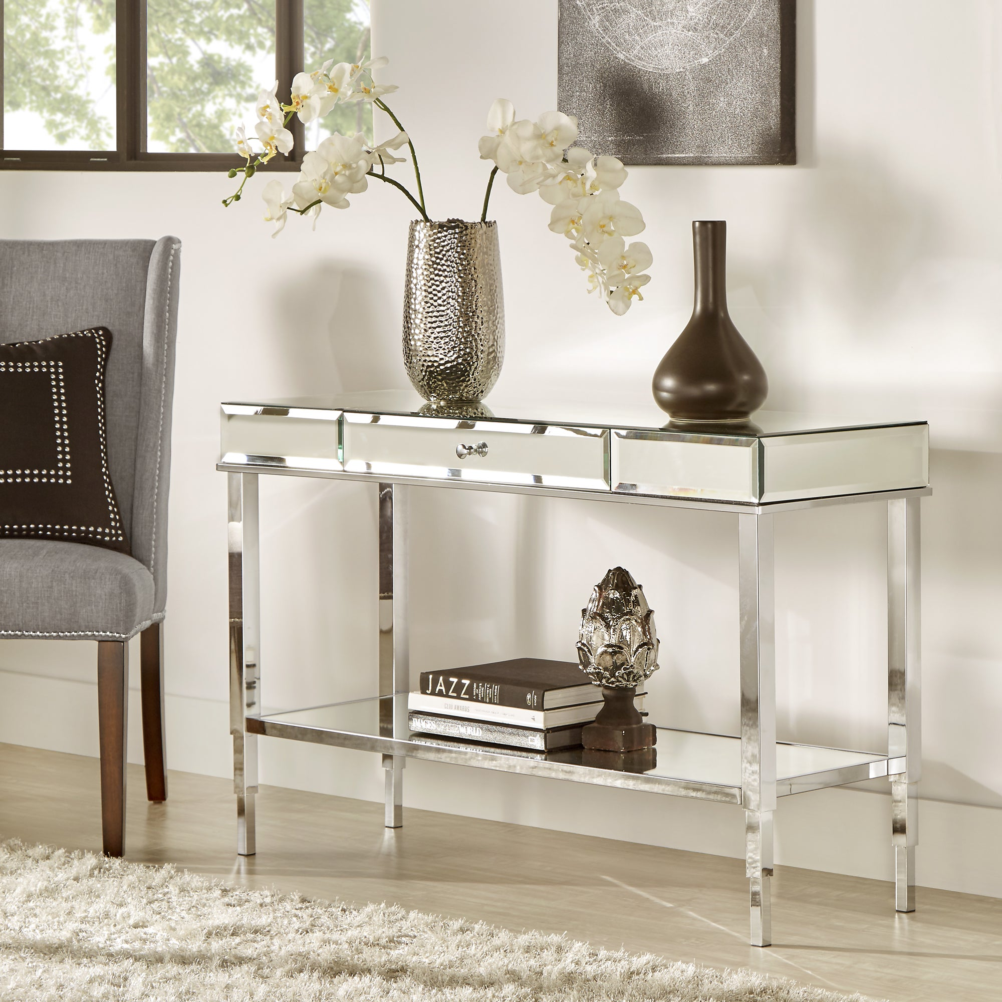 Shop Camille Glam Mirrored TV Stand Console Table With Drawer By INSPIRE Q  Bold   On Sale   Free Shipping Today   Overstock.com   14038842