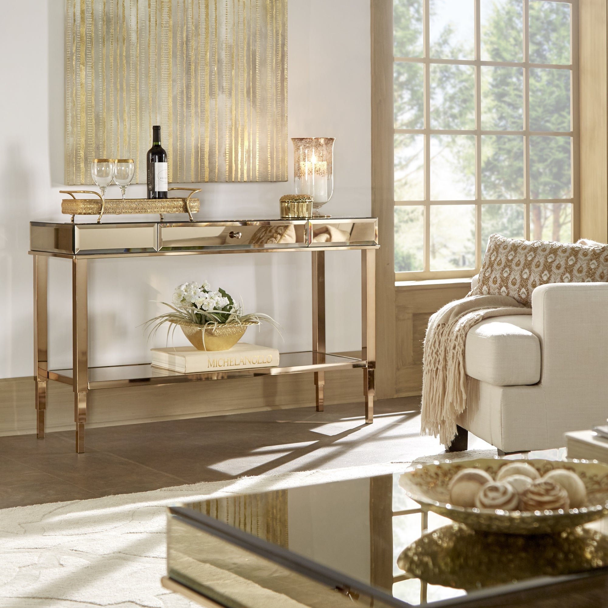 Shop Camille Glam Mirrored TV Stand Console Table with Drawer by ...
