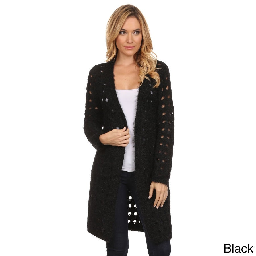 Shop High Secret Women s Solid Color Crochet Long-sleeve Open Front Cardigan  - Free Shipping Today - Overstock - 14039204 ffef0822d