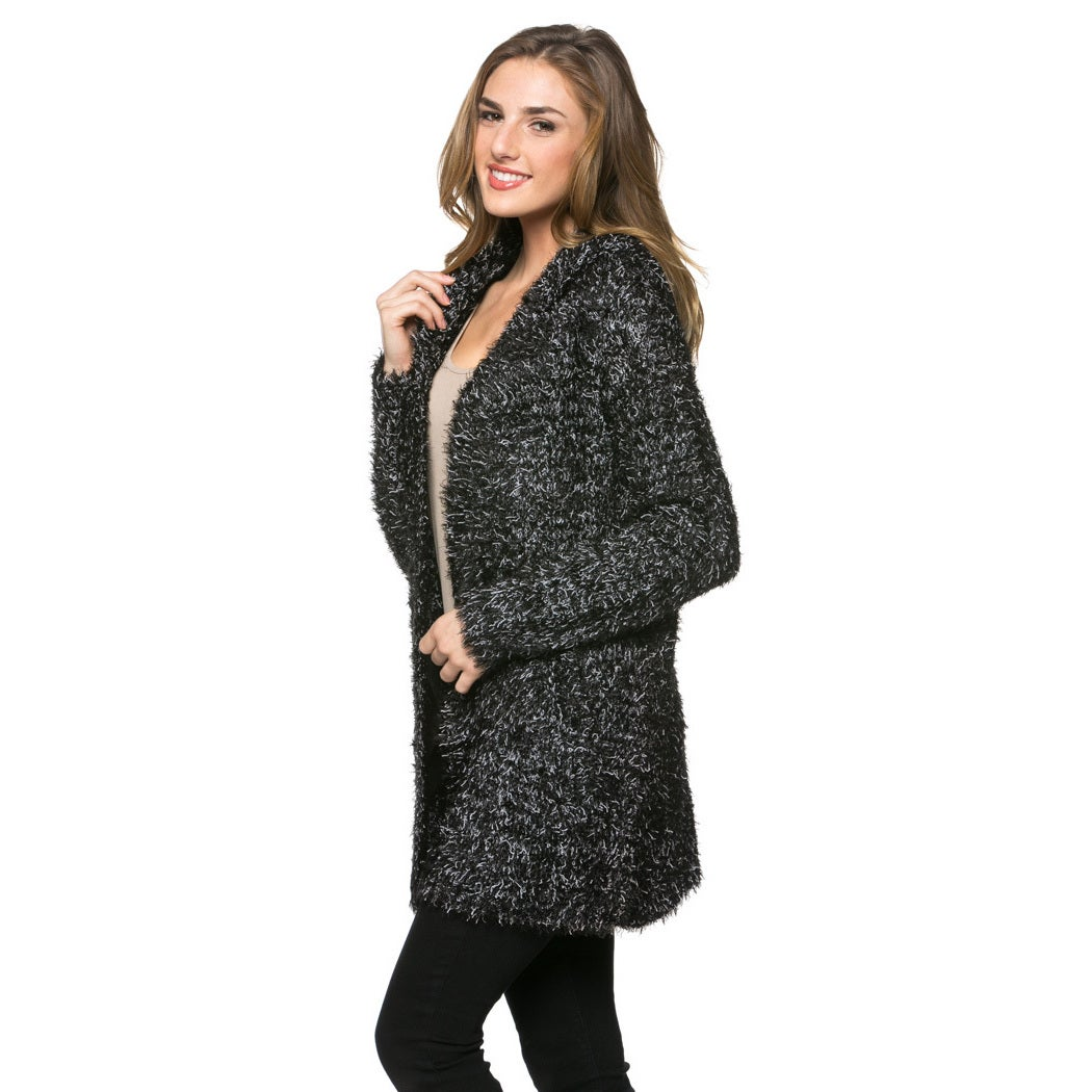 e6eb6dabd47 Shop High Secret Women s Black Hooded Peppered Fluffy Long Sleeves Open  Front Cardigan - Ships To Canada - Overstock.ca - 14042577