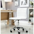 Swivel Mid Back Armless Ribbed Task Leather Upholstery Office Chair, White