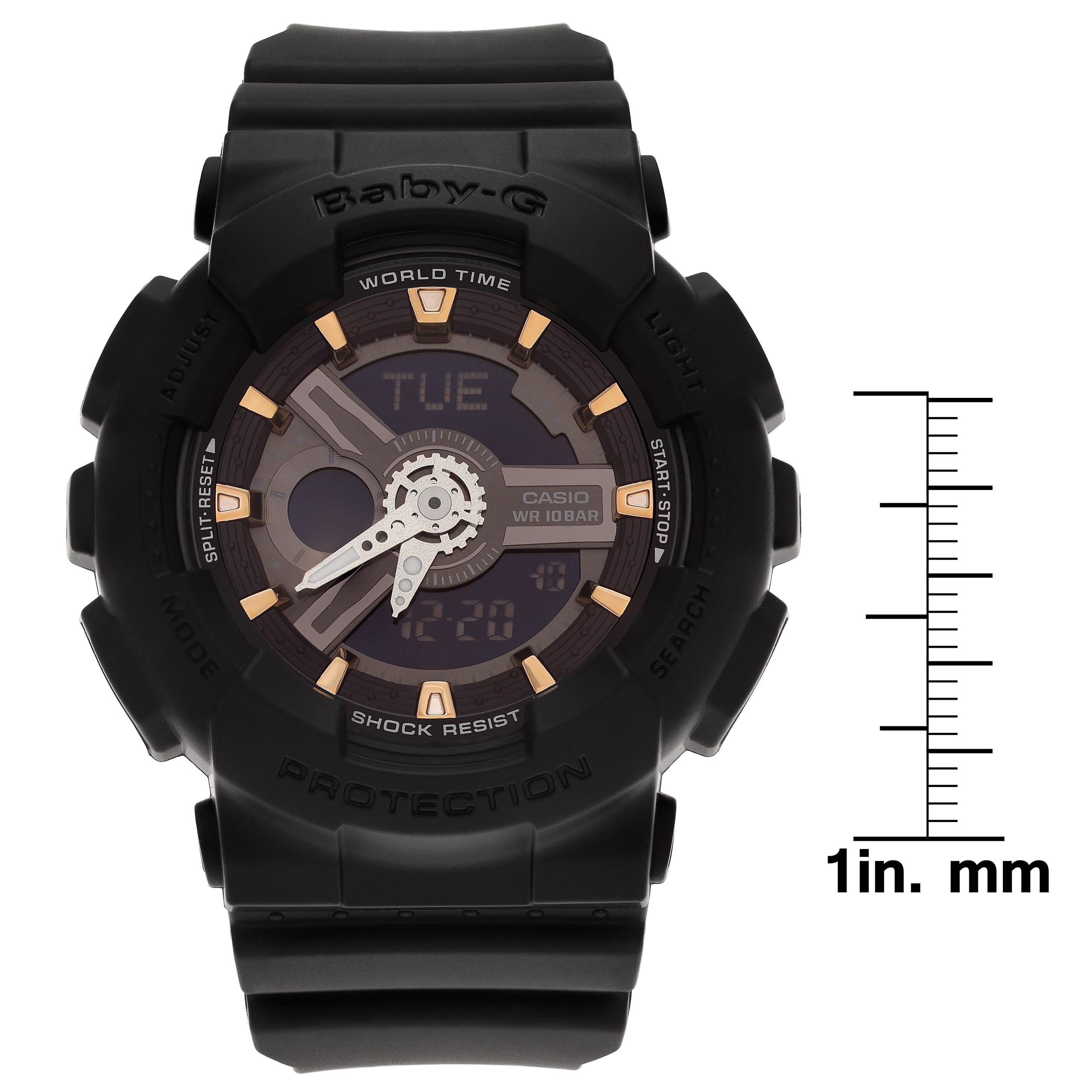 51bed8301f66 Casio Women s BA110GA-1A  Baby-G  Black Analog Digital Dial Resin Strap  Watch