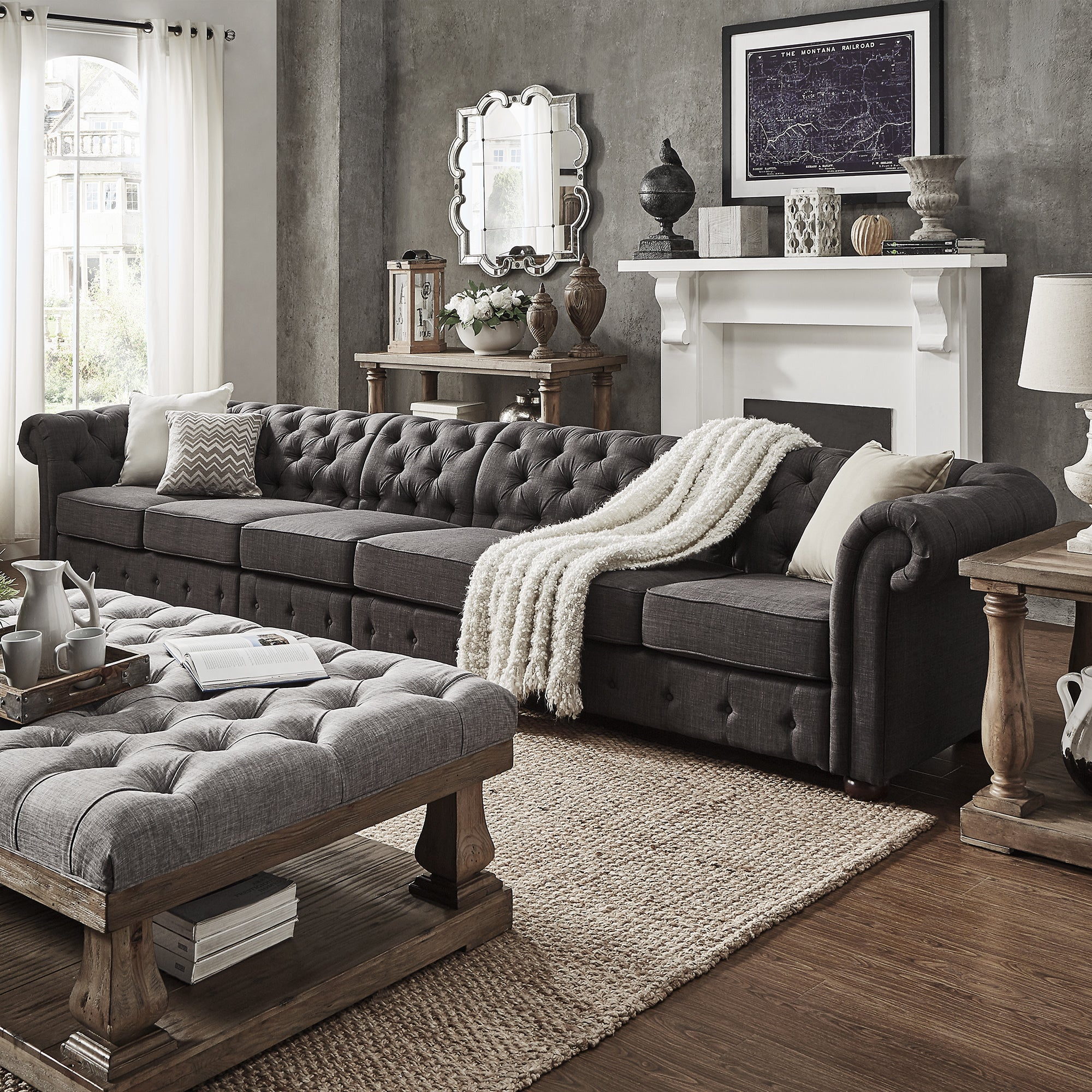 Shop Knightsbridge Dark Grey Extra Long Tufted Chesterfield Sofa By