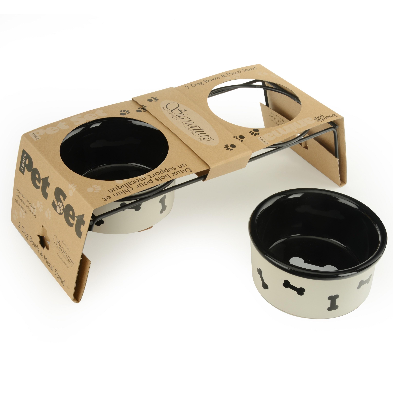 shop signature housewares pet bowl set in metal stand free