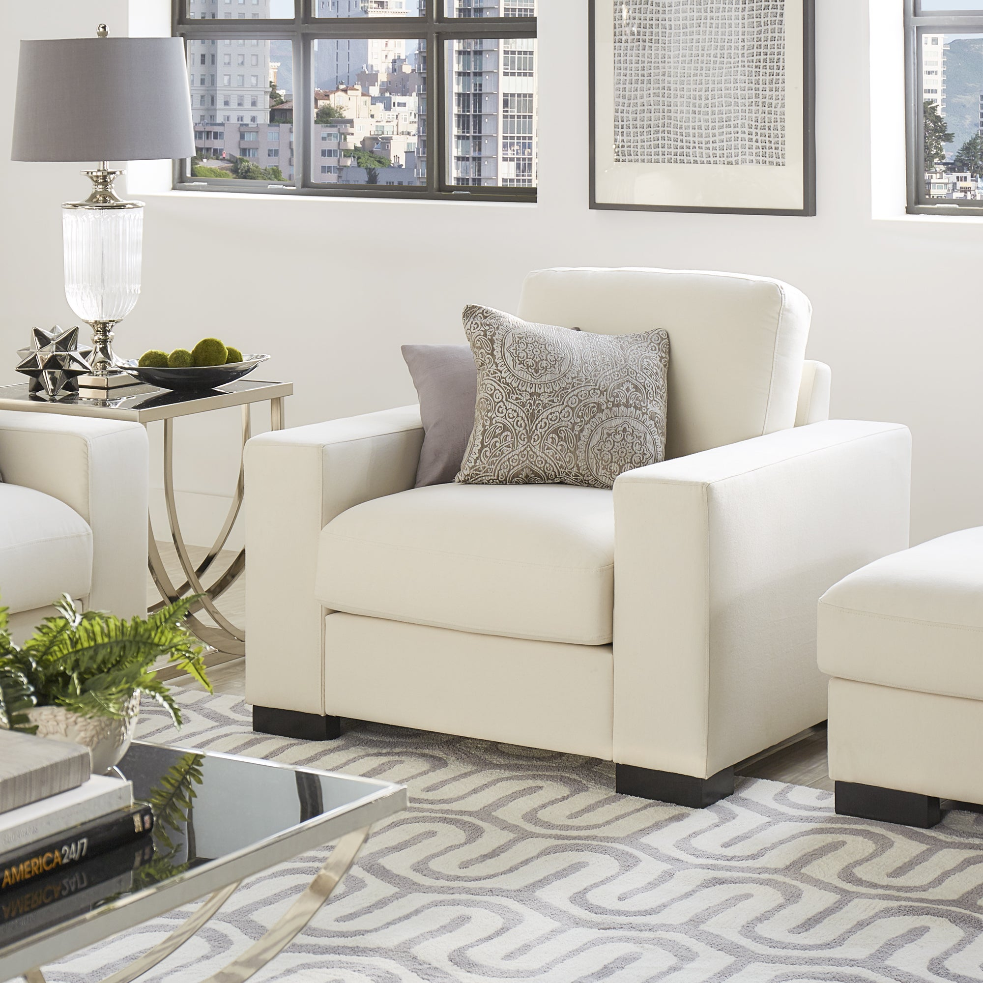 Shop Lionel White Cotton Down Filled Fabric Chair By INSPIRE Q Artisan    Free Shipping Today   Overstock.com   14046504