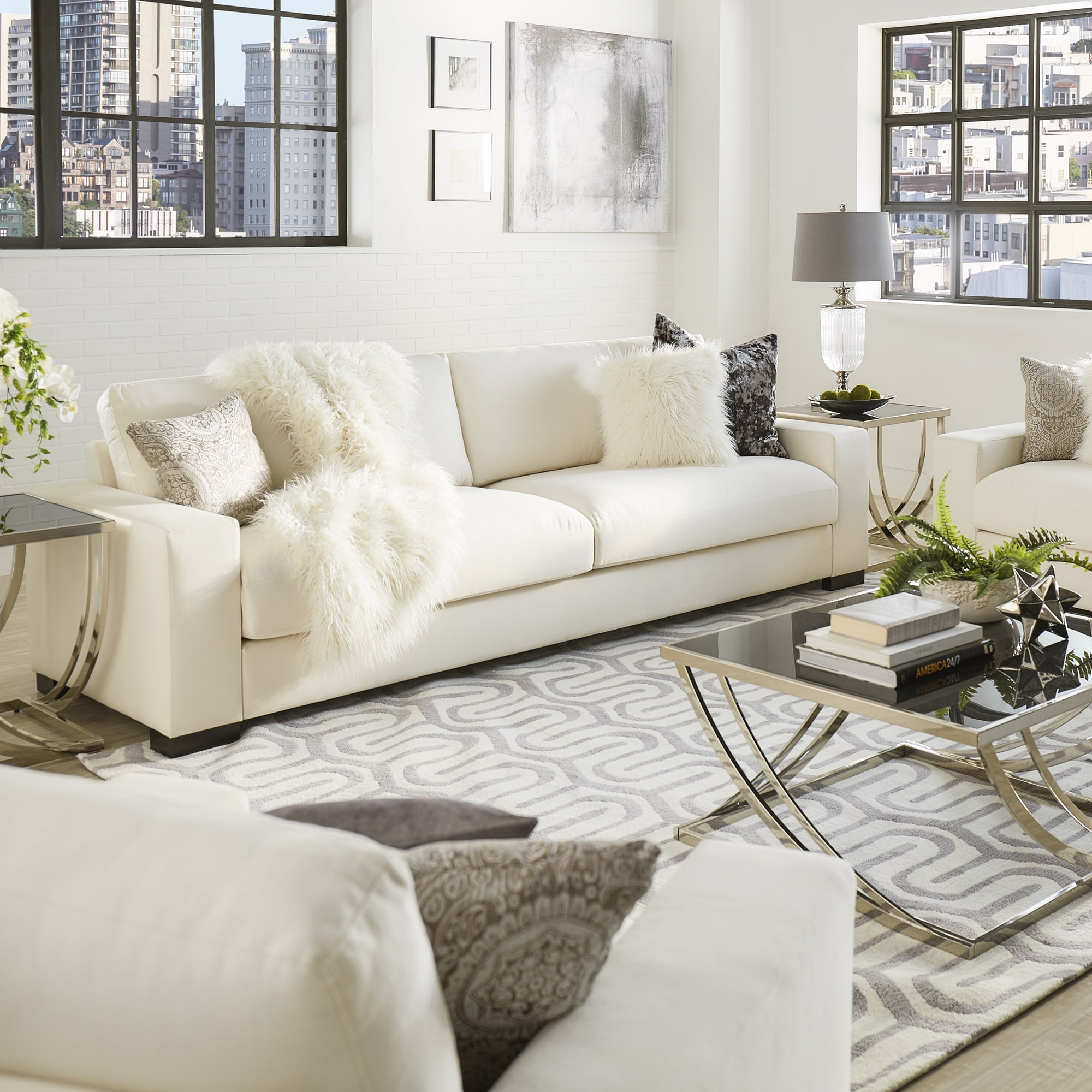 shop lionel white cotton down filled extra long deep seat sofa by rh overstock com