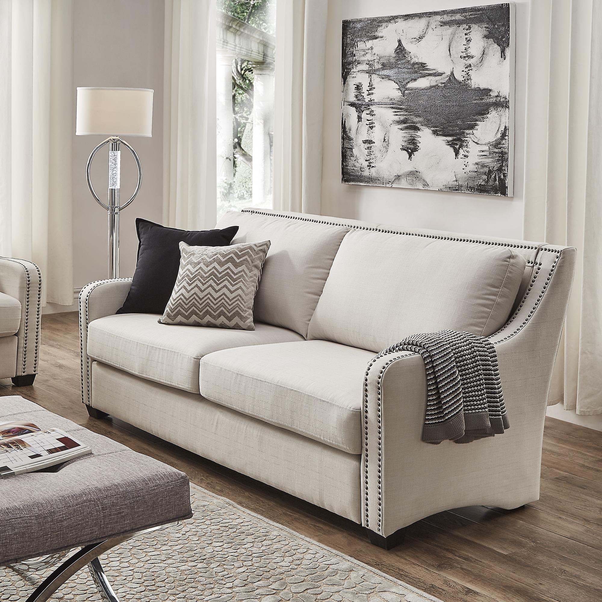 Faizah White Linen Nailhead Sloped Arm Sofa By INSPIRE Q Artisan   Free  Shipping Today   Overstock   20662669