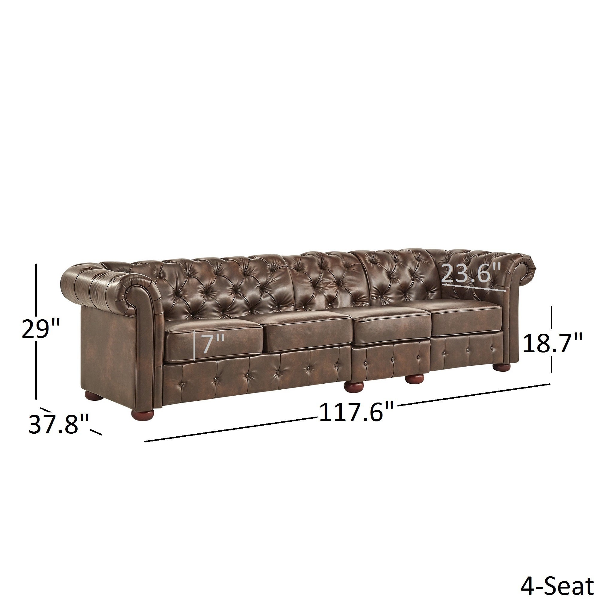 Knightsbridge Bonded Leather Oversize Extra Long Tufted Chesterfield Sofa By