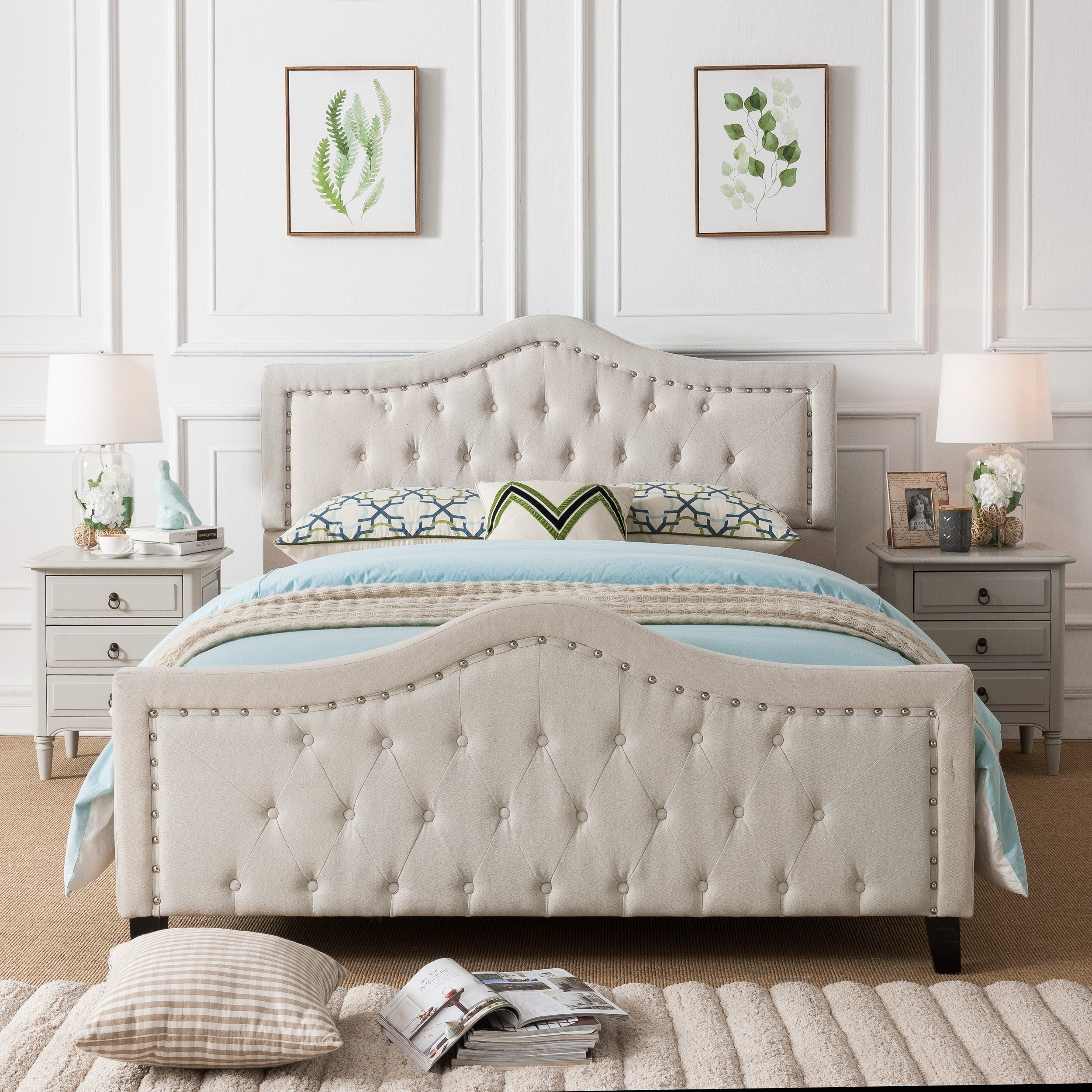 Shop Virgil Upholstered Tufted Fabric Queen Bed Set By Christopher