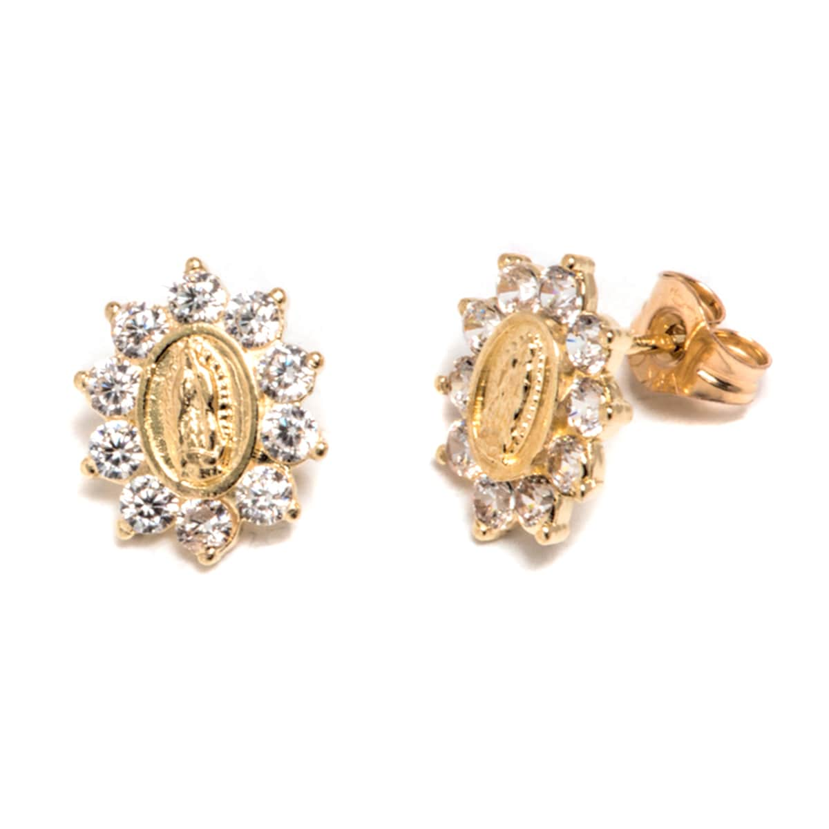f07338fcb Shop Pori 14k Solid Gold and Swarovski Crystals Guadalupe Spike Stud  Earrings - Free Shipping Today - Overstock - 14051795