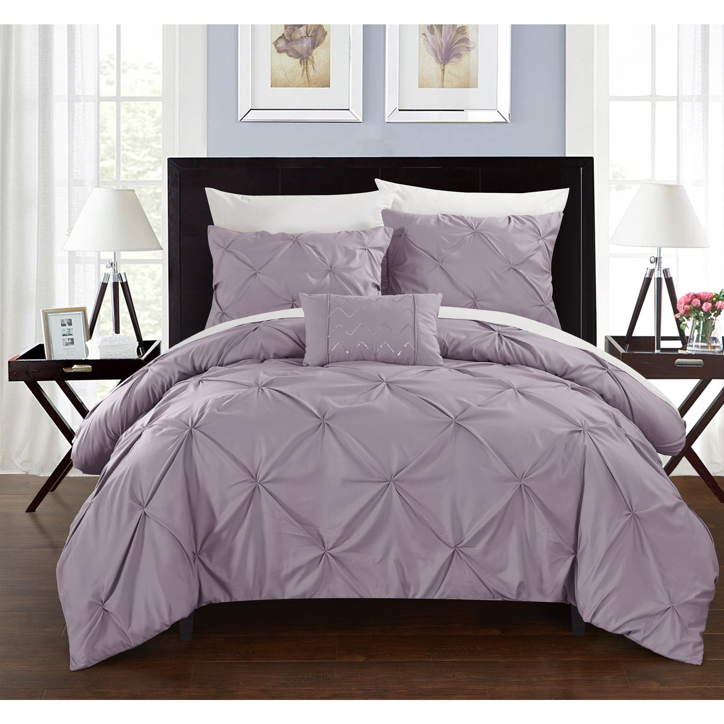 Shop silver orchid niven 4 piece lavender duvet cover set on sale free shipping today overstock com 20254279