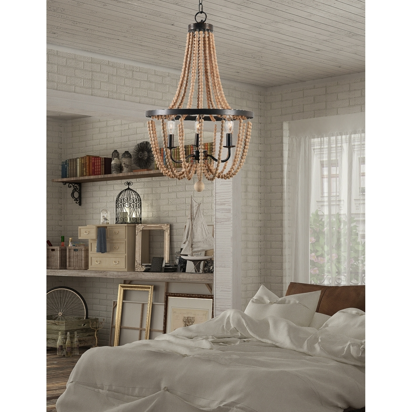 Mindy 3 Light Wood Bead Chandelier Free Shipping Today
