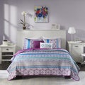 Intelligent Design Adley Purple Printed 5-piece Coverlet Set