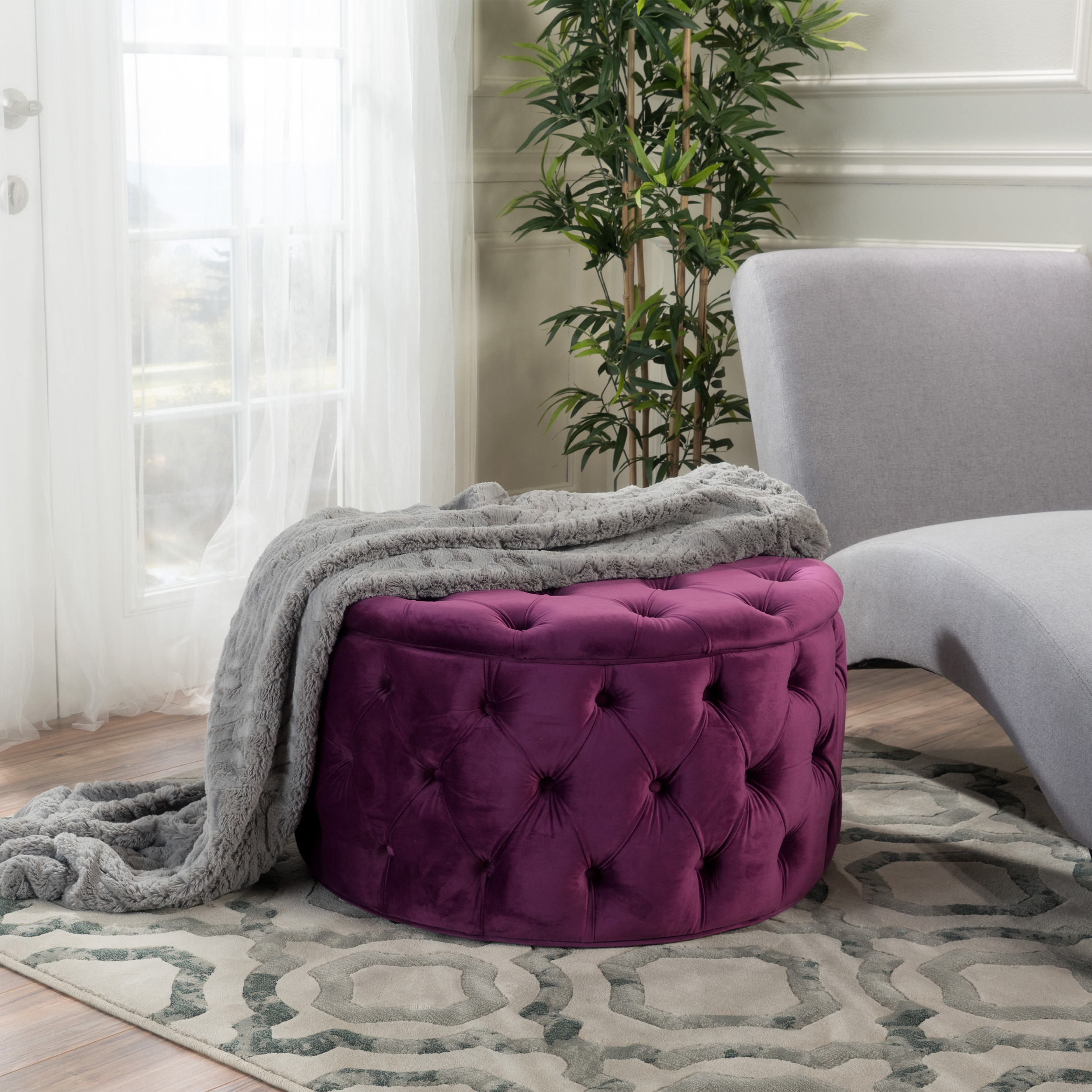 Shop Zelfa Round Tufted Velvet Ottoman By Christopher Knight Home   On Sale    Free Shipping Today   Overstock.com   14053761