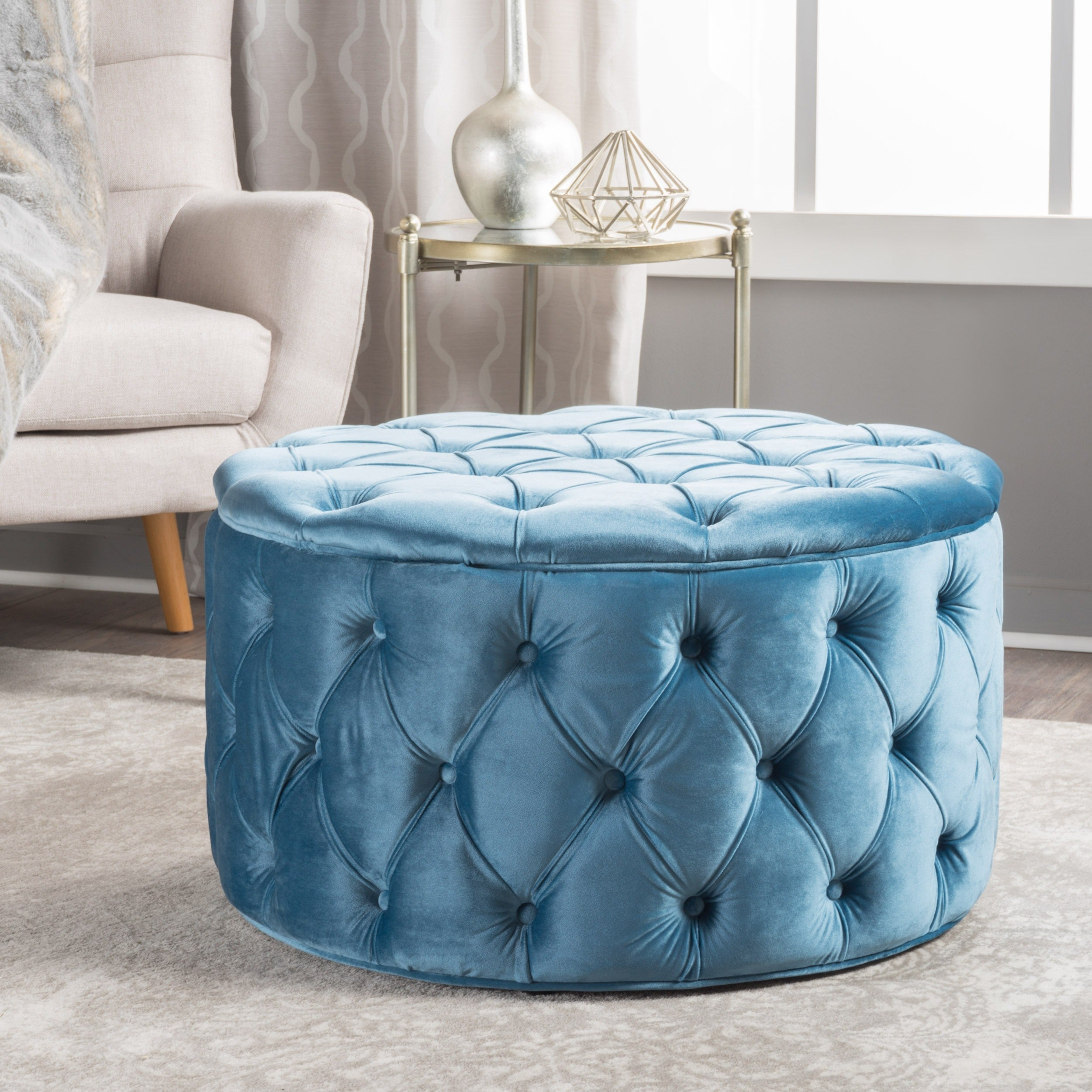 Zelfa Round Tufted Velvet Ottoman By Christopher Knight Home On Free Shipping Today 14053761