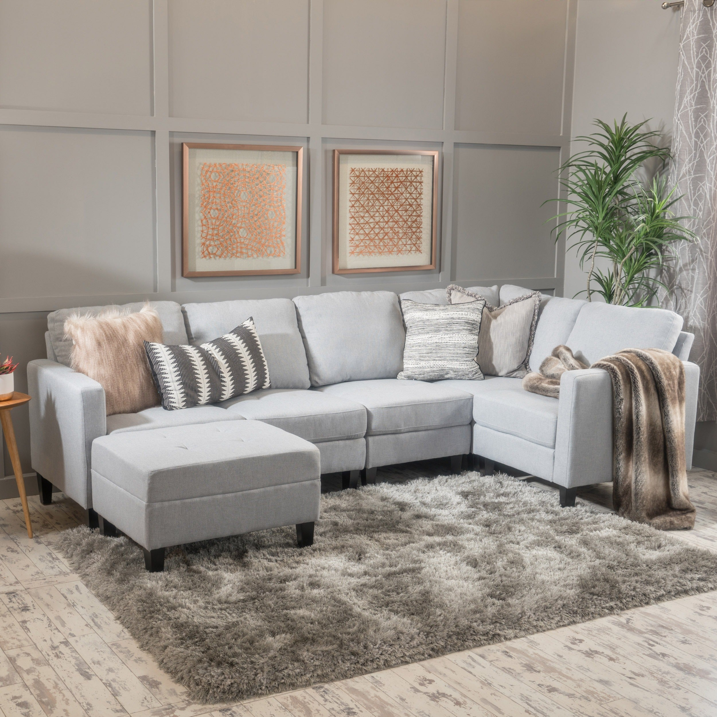 Zahra 6 Piece Fabric Sofa Sectional With Ottoman By Christopher Knight Home On Free Shipping Today 14057283