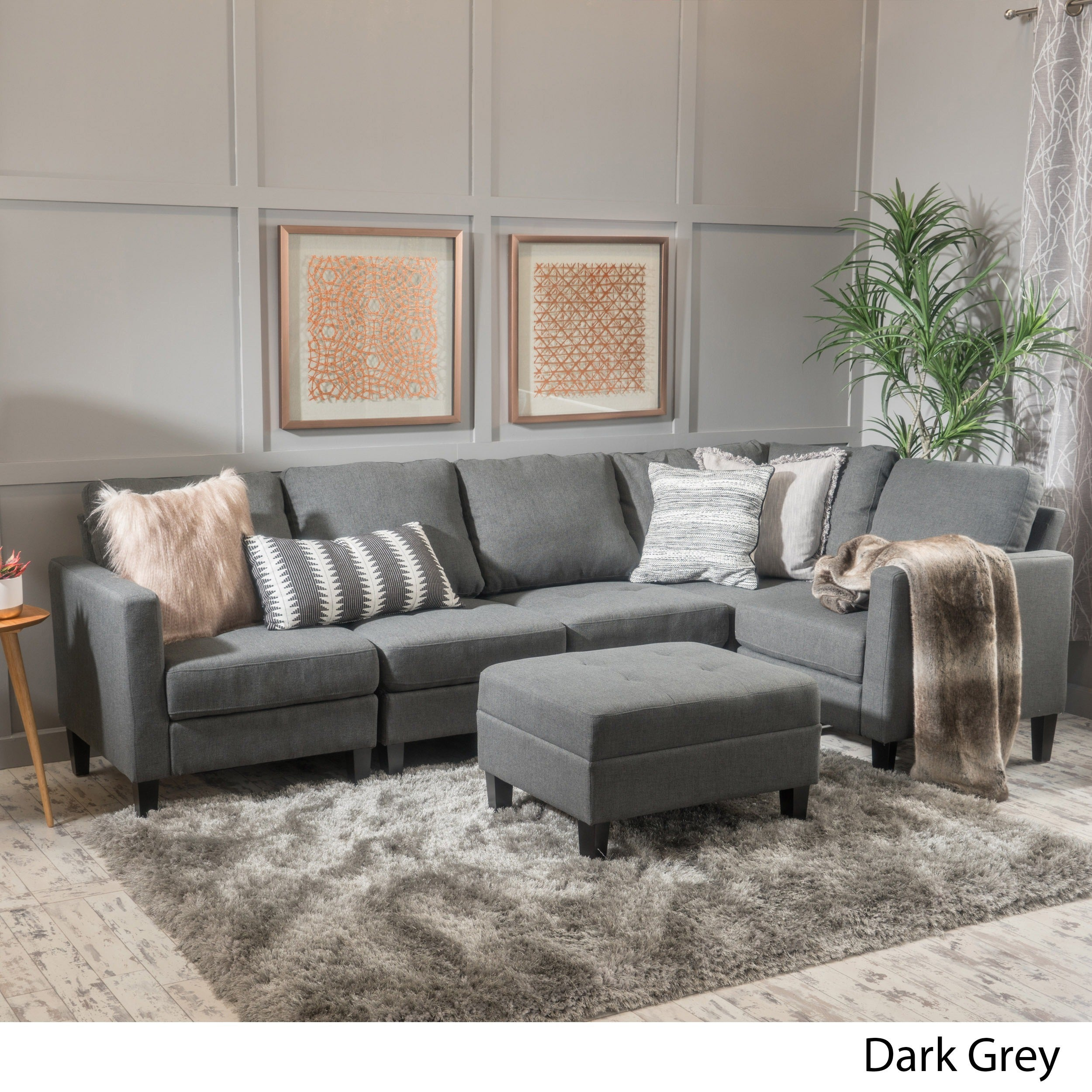 Shop Zahra 6 Piece Fabric Sofa Sectional With Ottoman By Christopher Knight  Home   On Sale   Free Shipping Today   Overstock.com   14057283