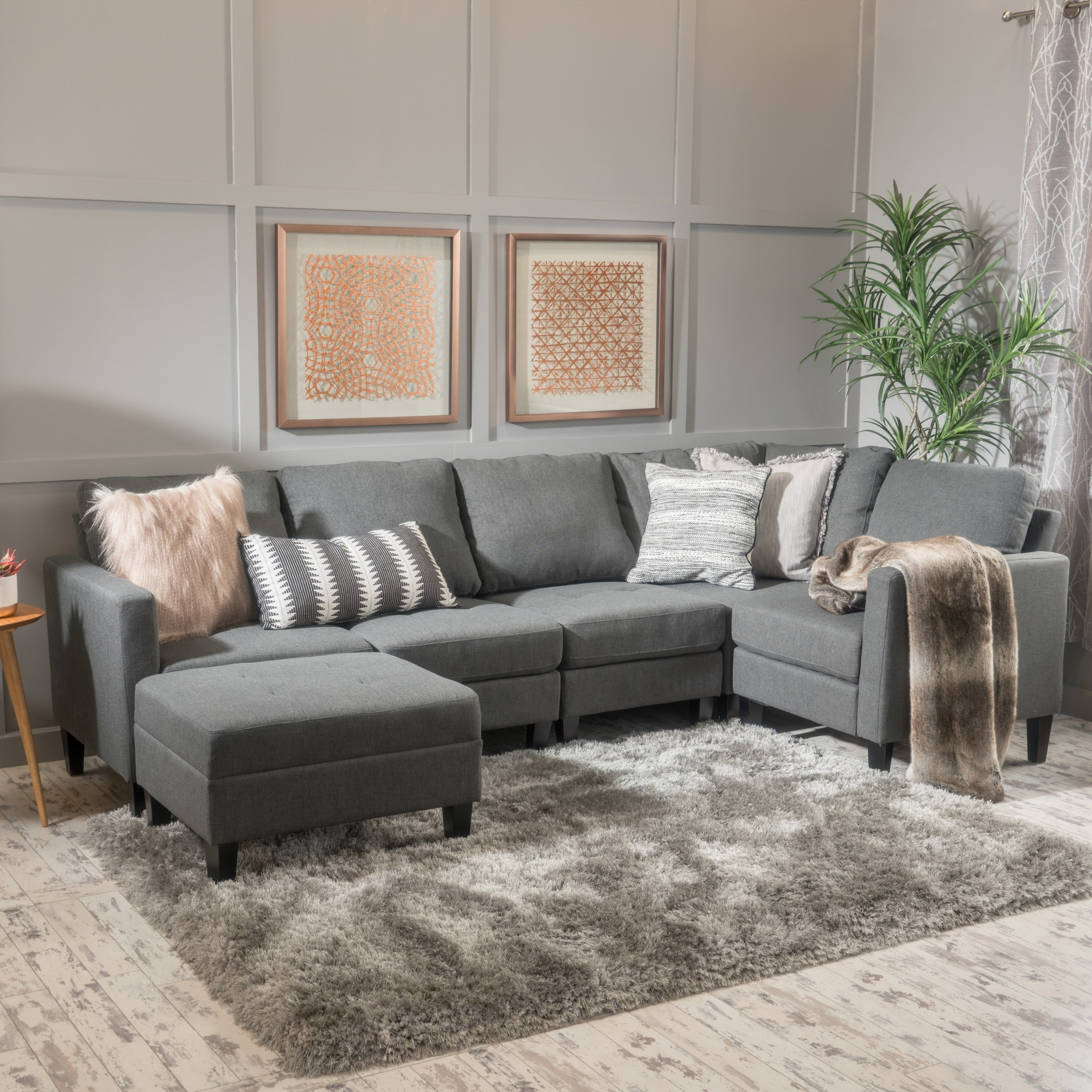 shop zahra 6 piece fabric sofa sectional with ottoman by christopher rh overstock com leather couch with chaise and ottoman leather sectional sofa with chaise and ottoman