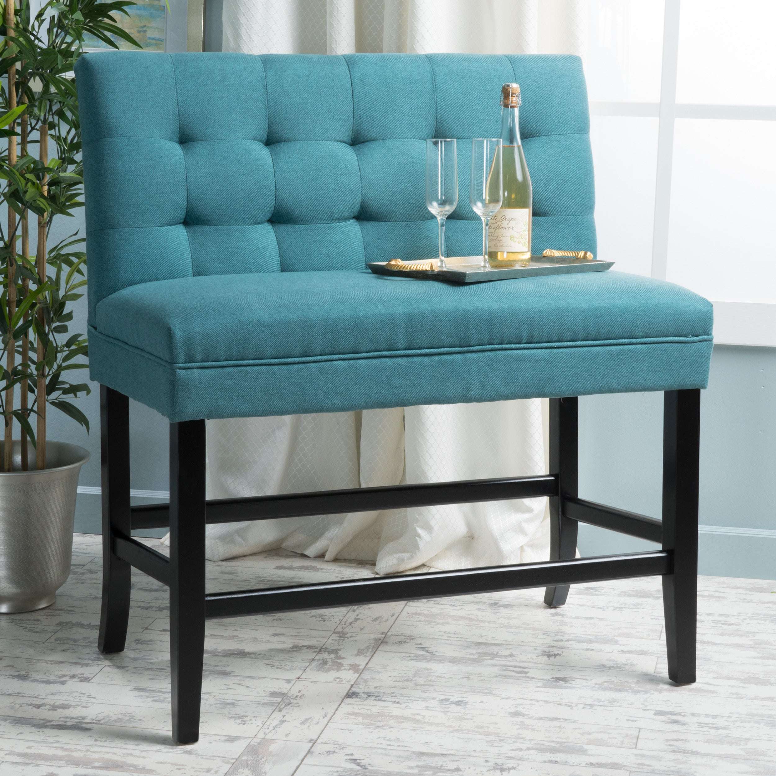 Shop Kenan 26-inch Tufted Fabric Barstool Dining Bench by ...