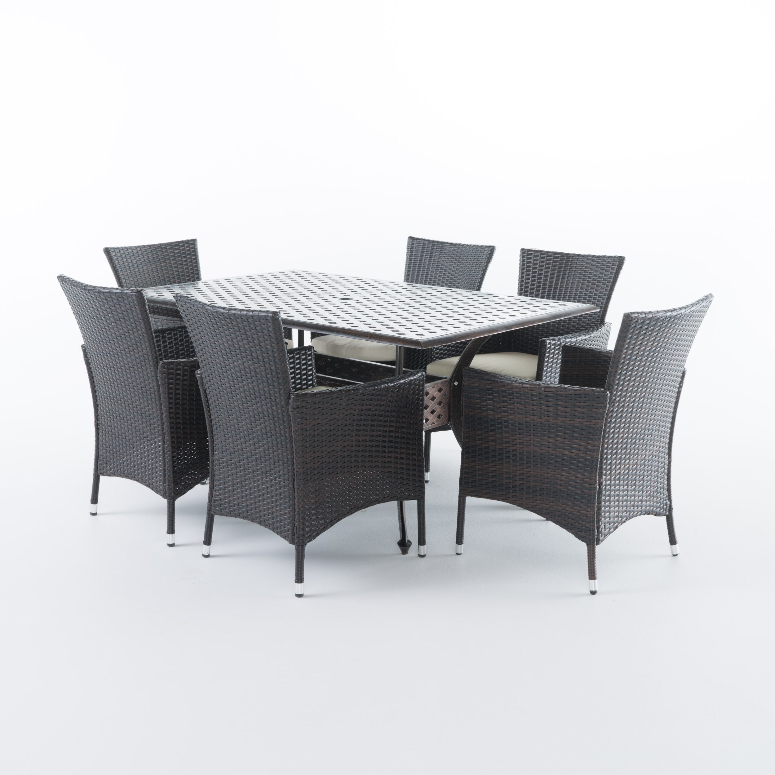 Madison Outdoor 7-piece Rectangle Cast Aluminum Dining Set with ...