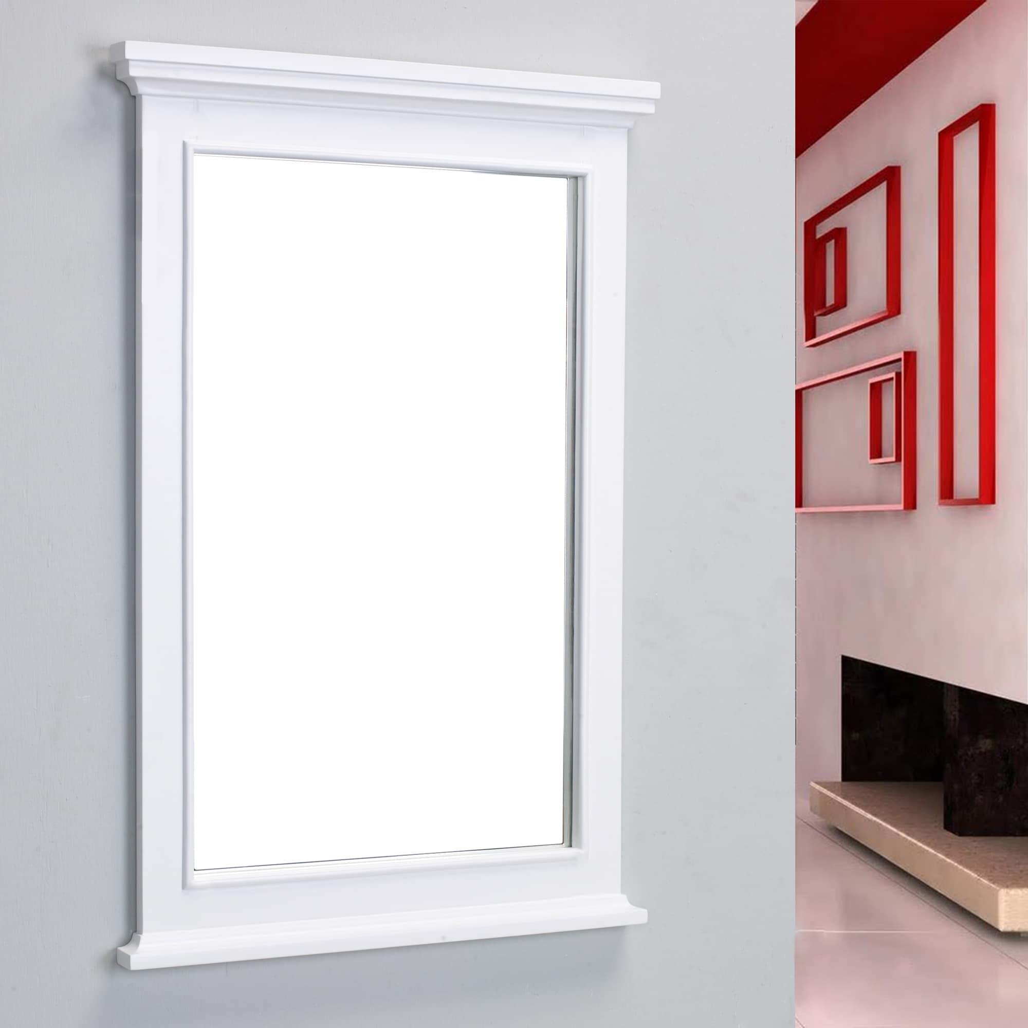 Shop Eviva Elite Stamford White Full Framed Bathroom Mirror - Free ...