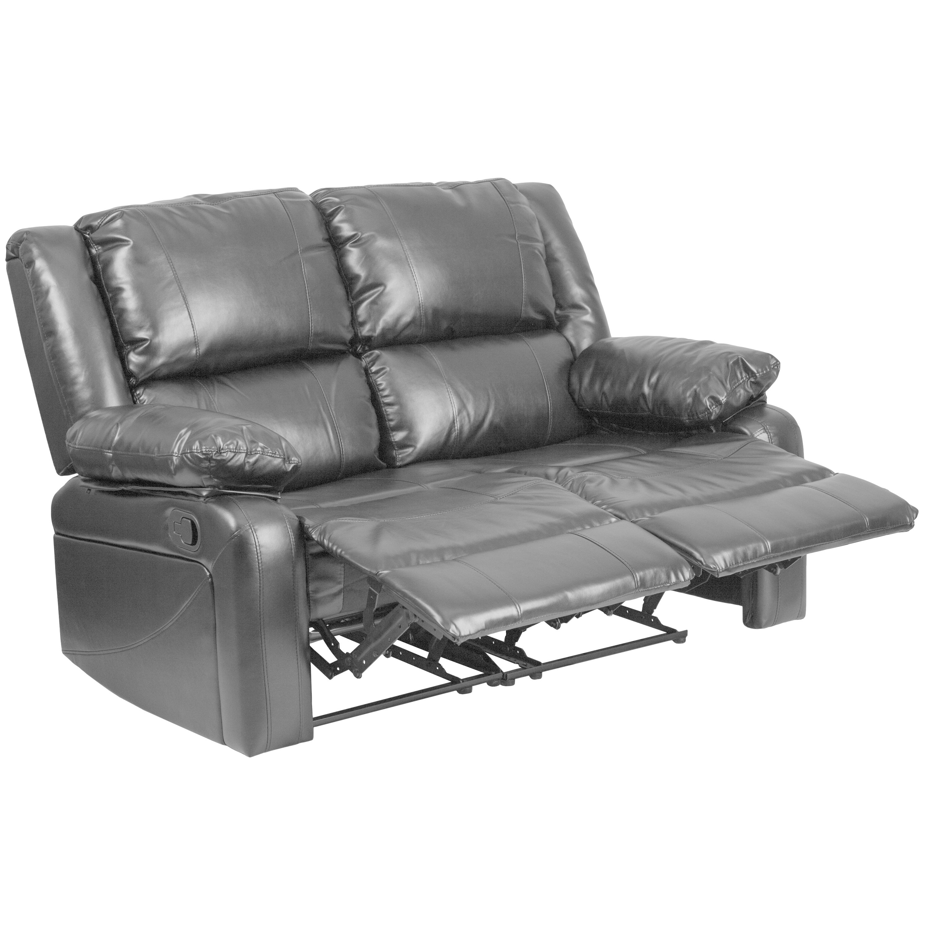 Shop Copper Grove Malheur Leather Loveseat With Two Built In