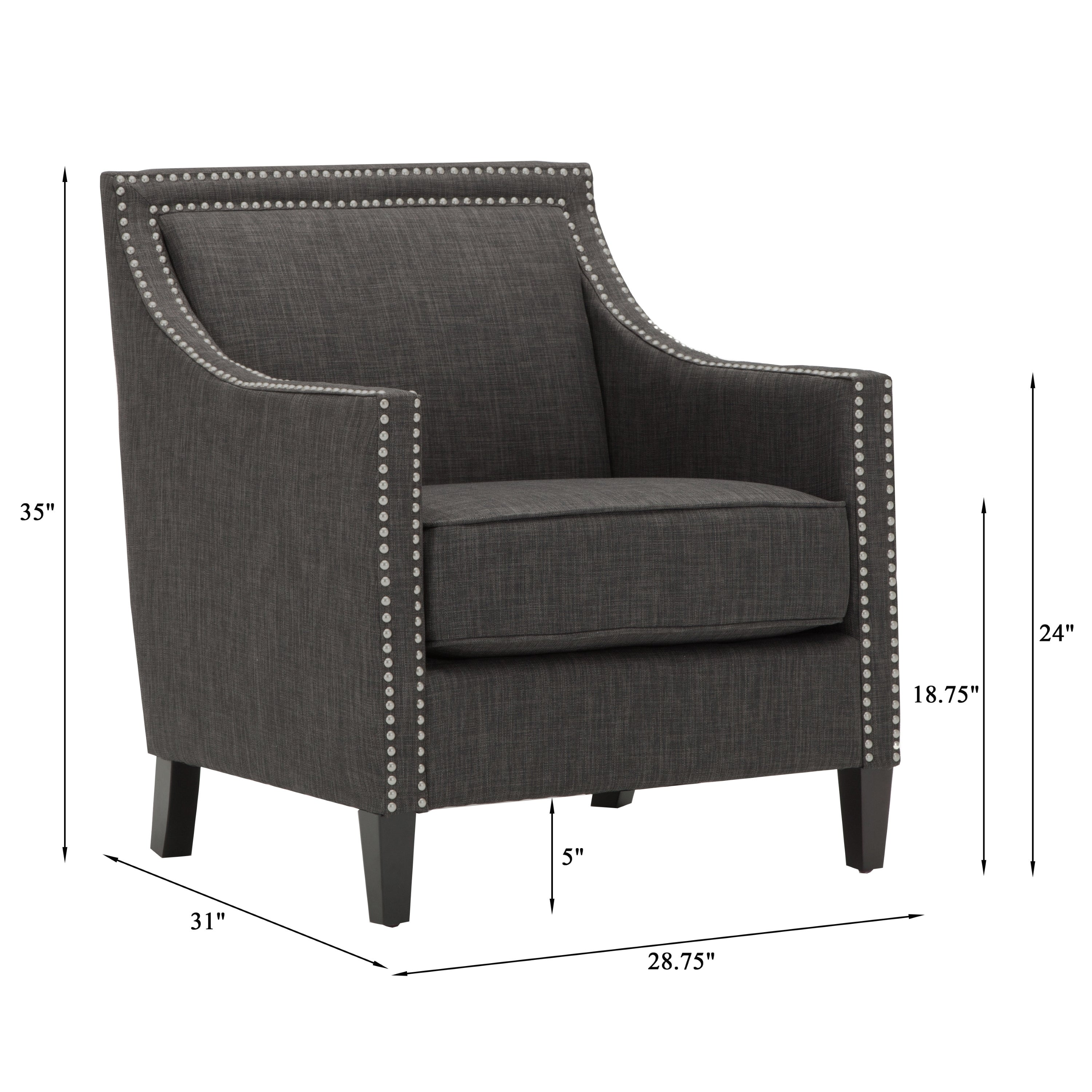 Tanner Charcoal Accent Chair by Greyson Living Free Shipping