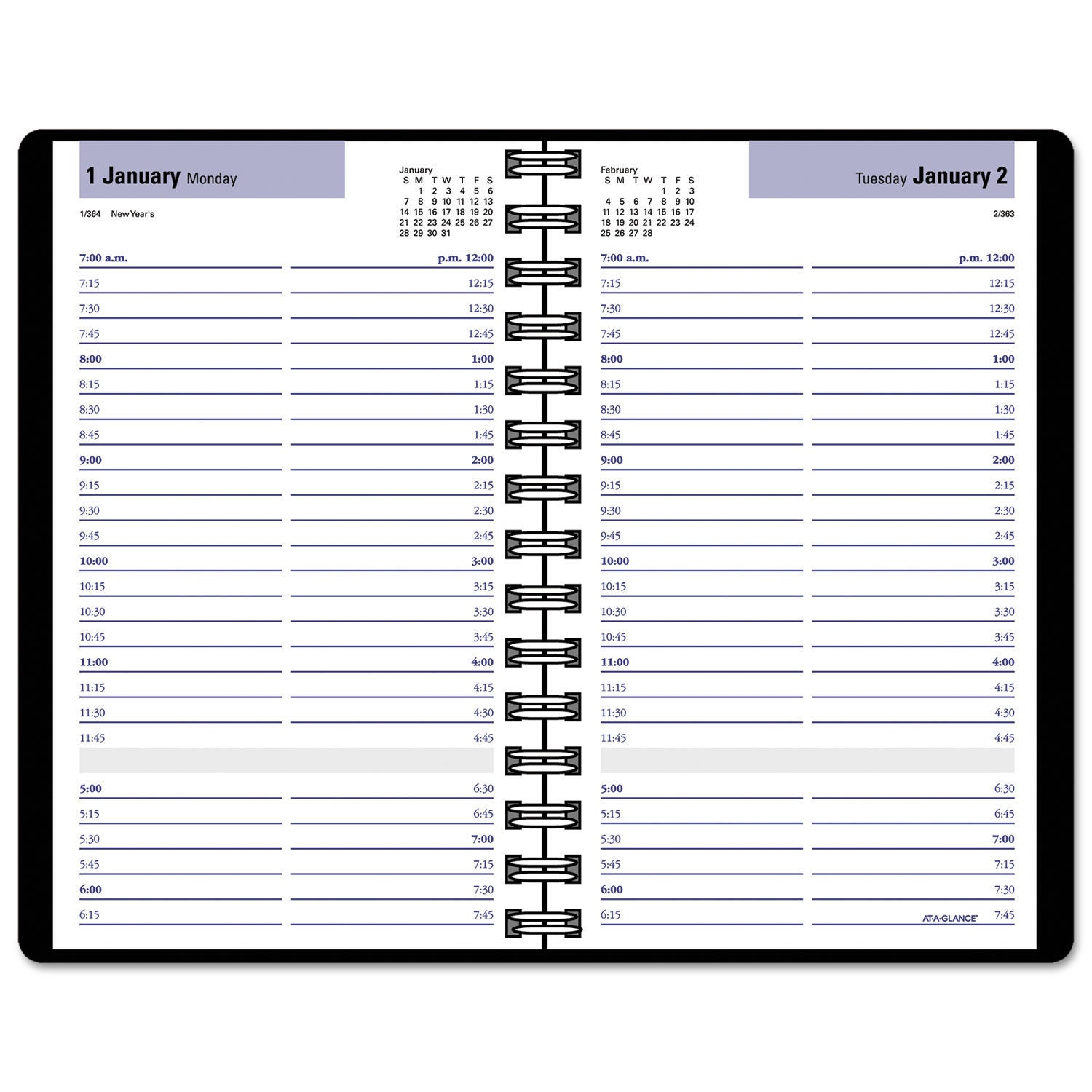 Shop AT-A-GLANCE DayMinder Daily Appointment Book with15-Minute Appointments, 8 x 4 7/8, Black, 2019 - Free Shipping On Orders Over $45 Overstock.com