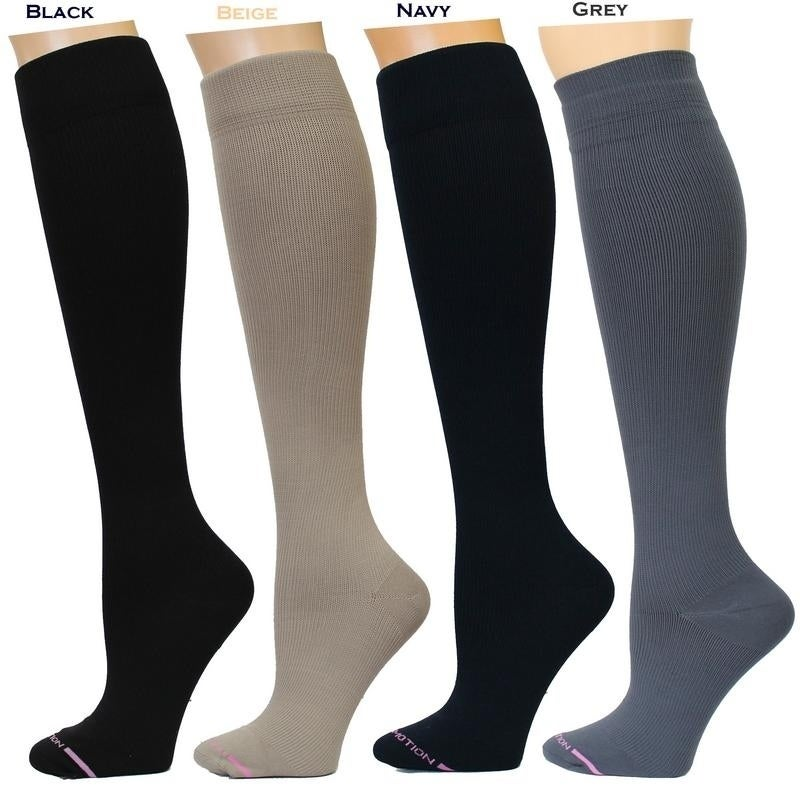 f831e713e Shop Dr. Motion Women s Therapeutic Graduated Compression Knee-high Socks  (Pack of 4 Pairs) - Free Shipping On Orders Over  45 - Overstock - 14061921