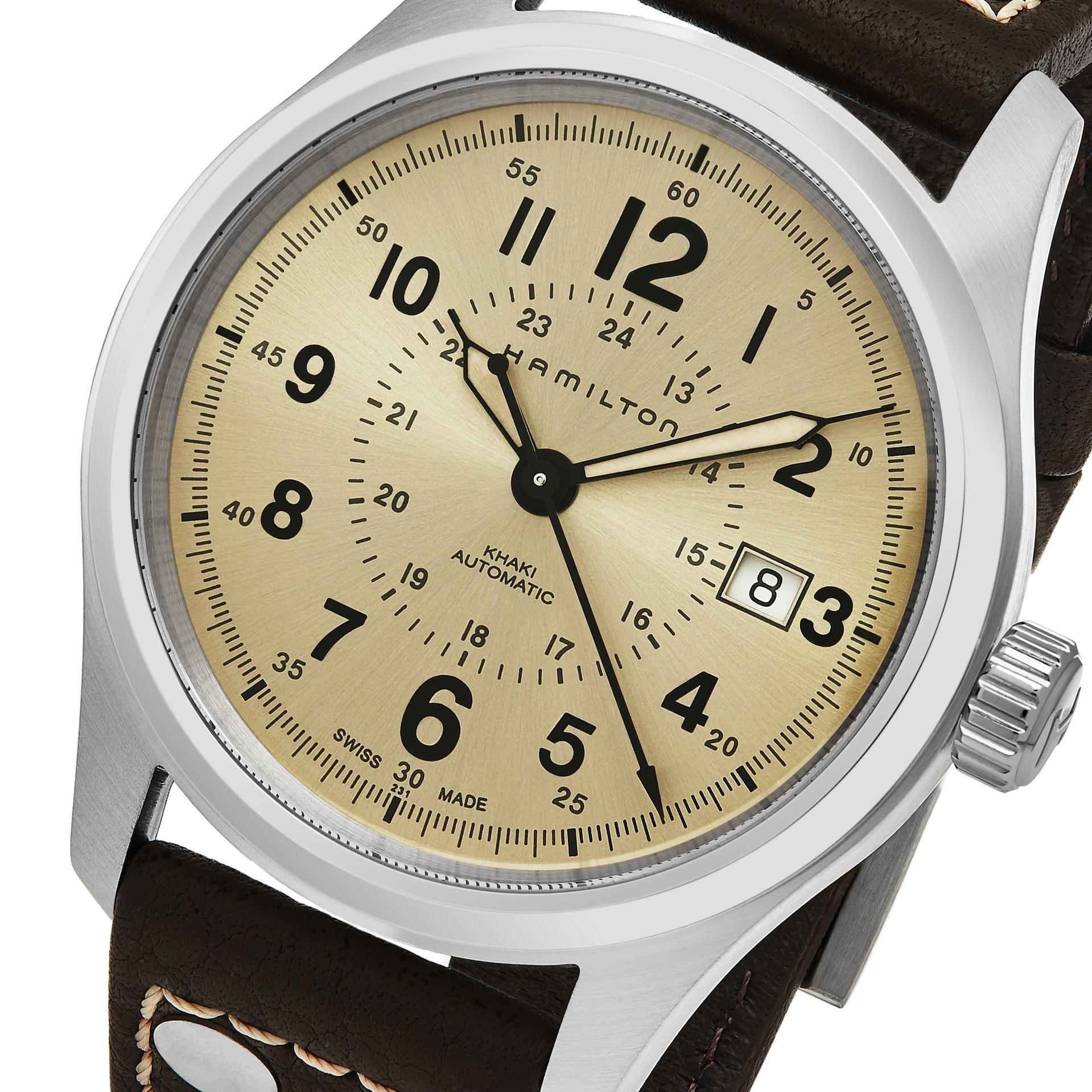 137663f4122 Shop Hamilton Men s  Khaki Field  Beige Dial Brown Leather Strap Swiss Automatic  Watch - Free Shipping Today - Overstock - 14063346