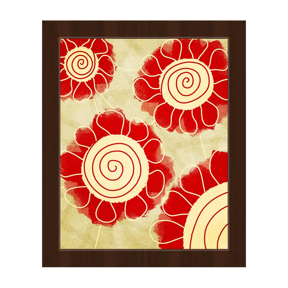Flower Spirals Red Framed Canvas Wall Art Print - Free Shipping ...
