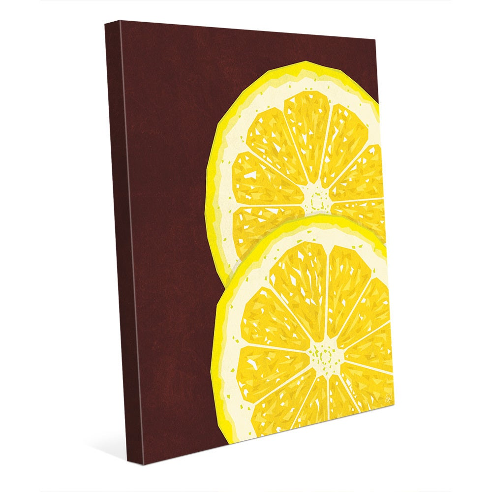 Large Sliced Lemon Red Wall Art Print on Canvas - Free Shipping ...