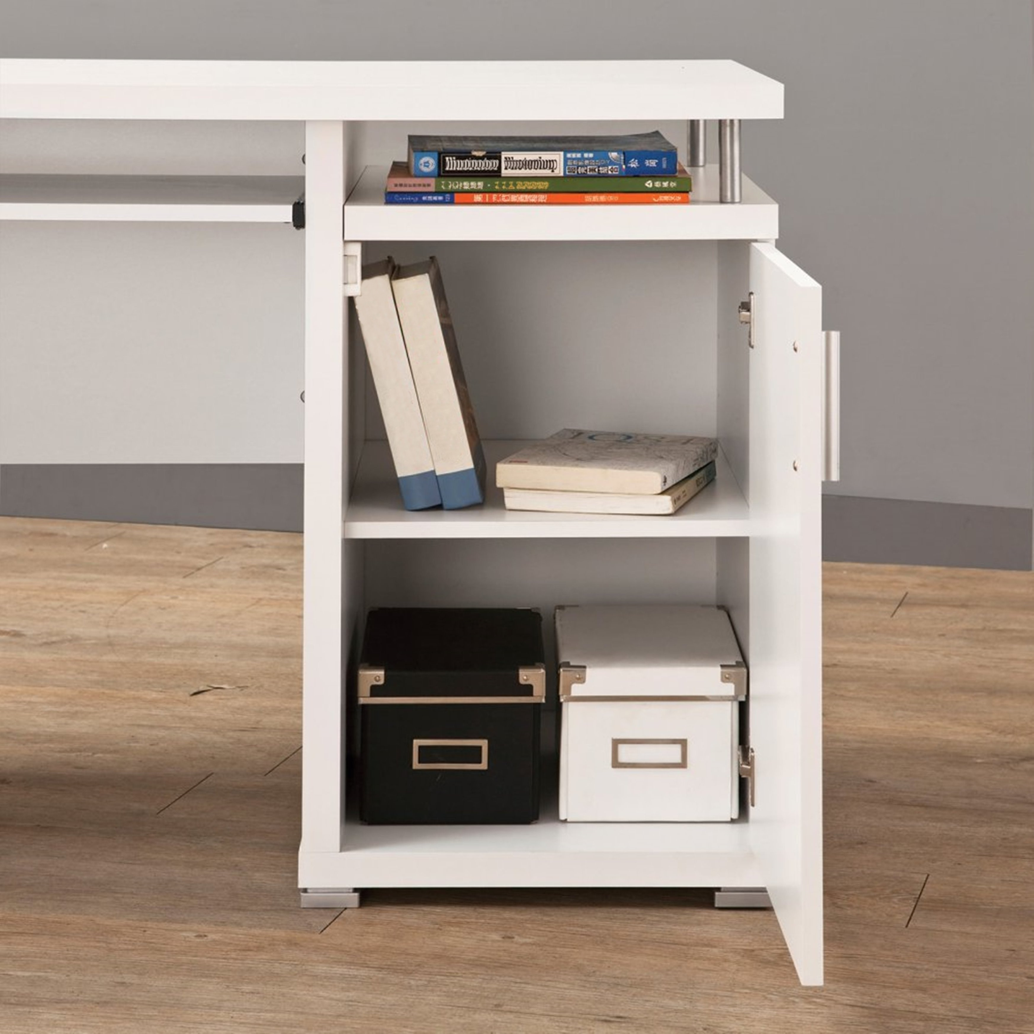 Modern Floating Top Design Home Office White Computer Desk with Drawers and  Cabinet - Free Shipping Today - Overstock.com - 20679428