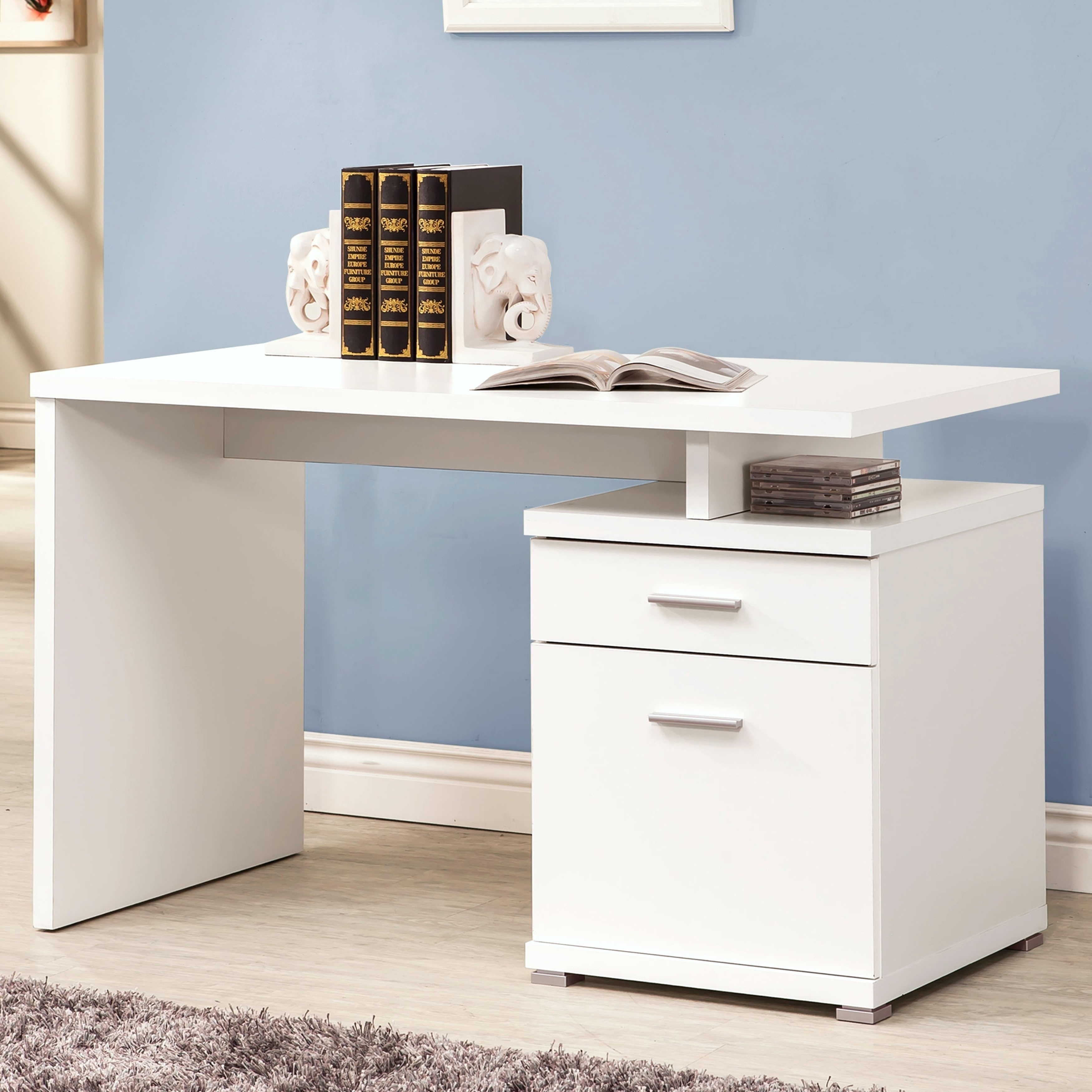 Shop modern design home office white writing computer desk with file cabinet free shipping today overstock com 14066782