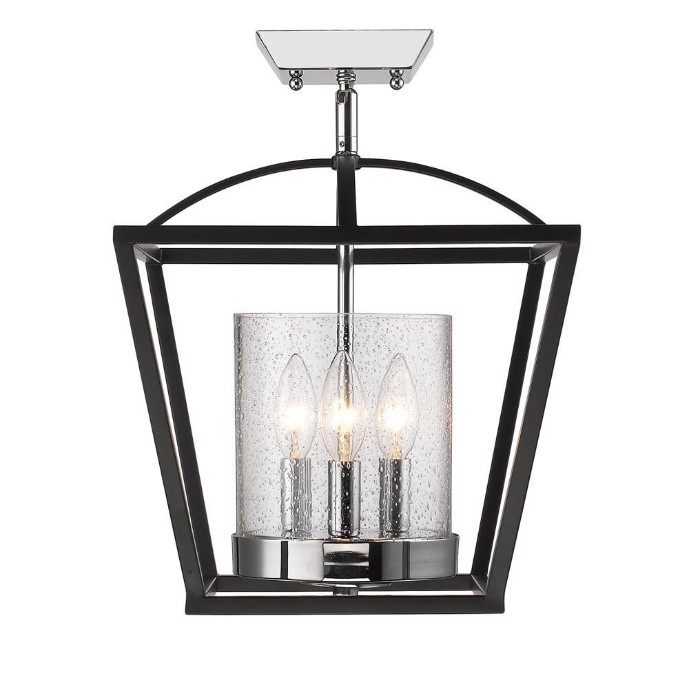 Golden Lighting Mercer Black Seeded Gl Semi Flush Mount Fixture On Free Shipping Today 14075569