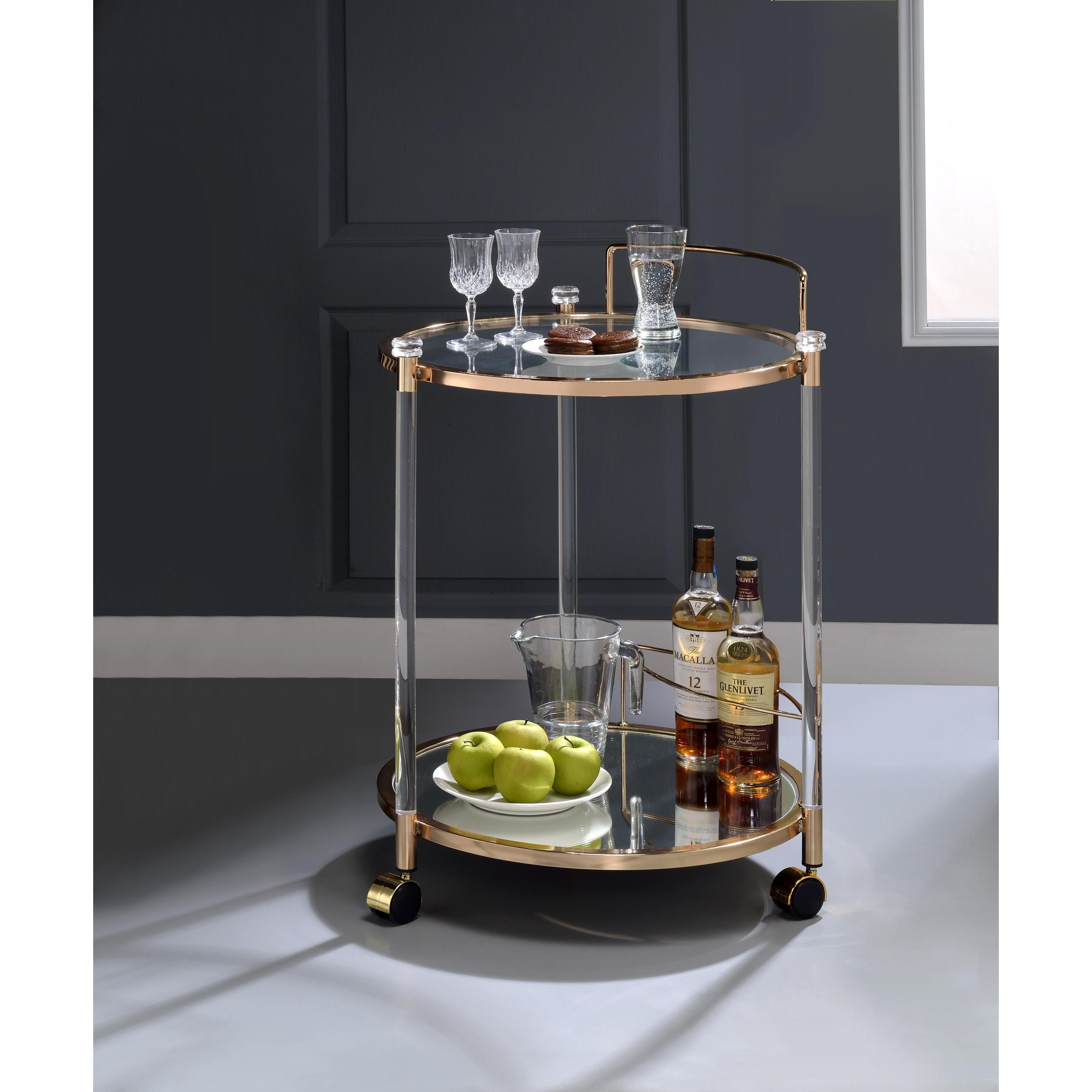 Shop Acme Furniture Todd Glass Serving Cart In Goldtone Finish