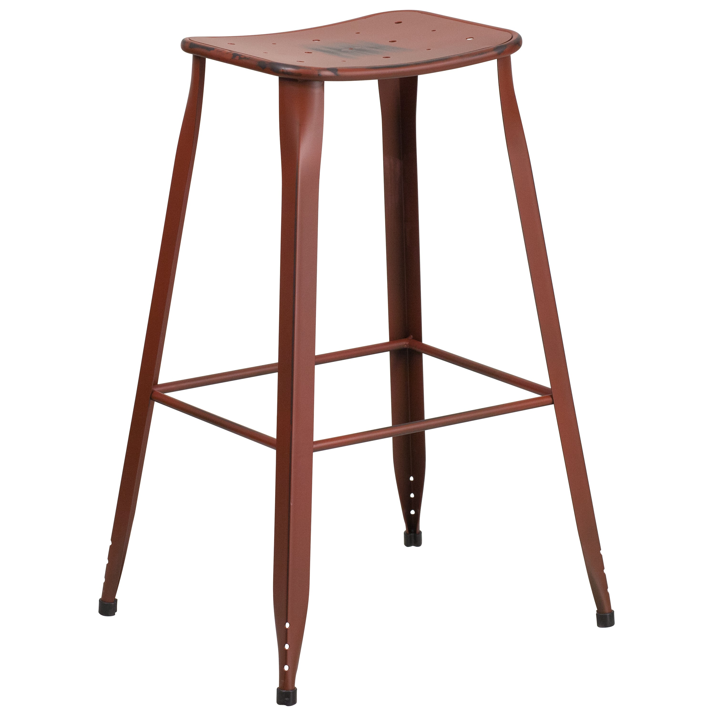 Distressed Red Galvanized Metal 30 Inch Bar Stool Free Shipping Today 14076324