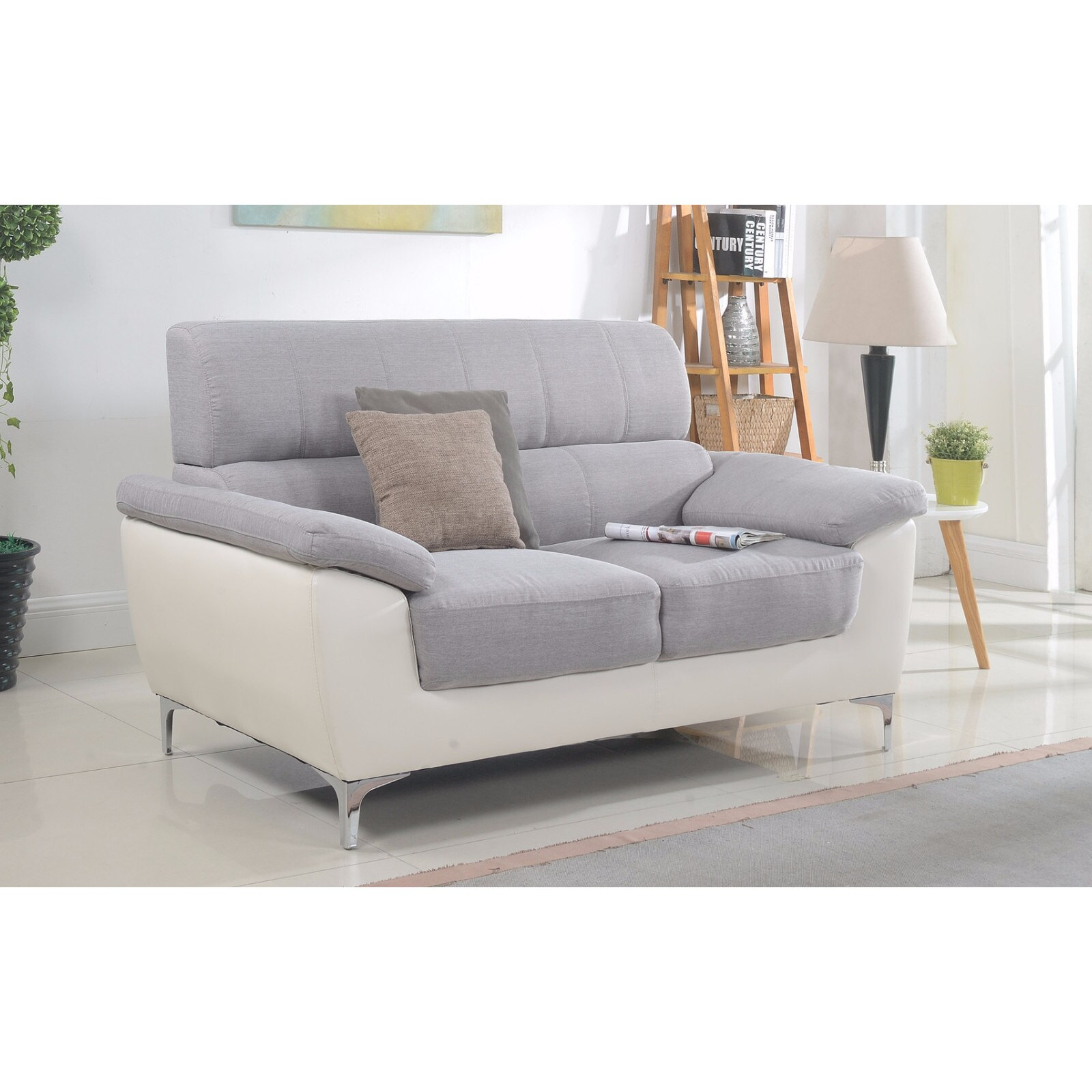Shop Modern Two Tone Fabric and Bonded Leather Living Room Loveseat ...