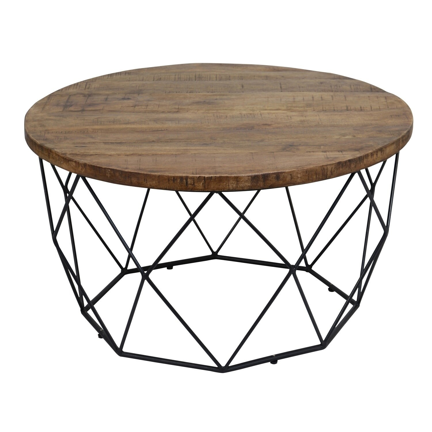 Shop chester wood and iron geometric round coffee table by kosas home on sale free shipping today overstock com 14080585