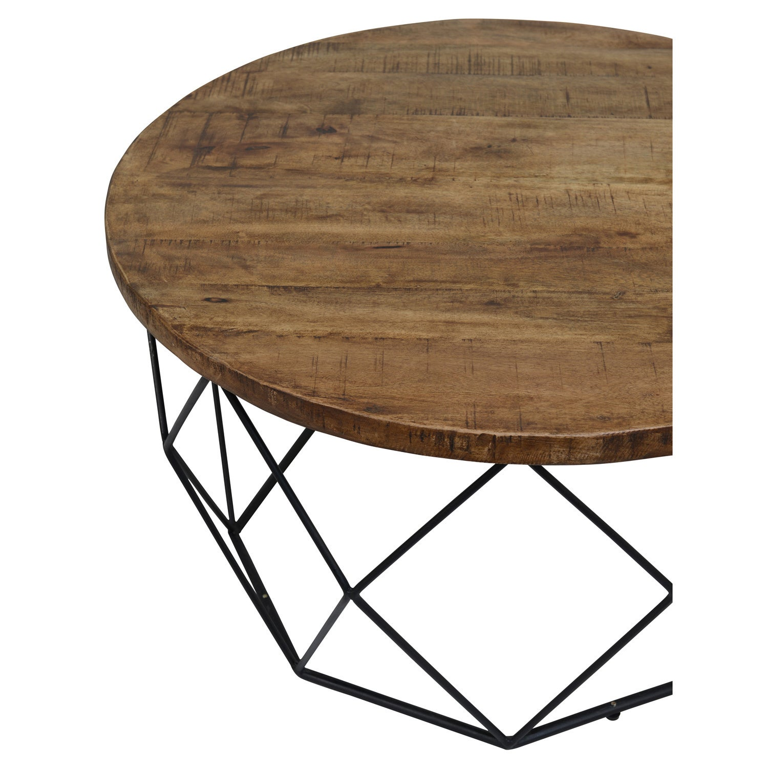 Shop Chester Wood And Iron Geometric Round Coffee Table By Kosas - Geometric round coffee table