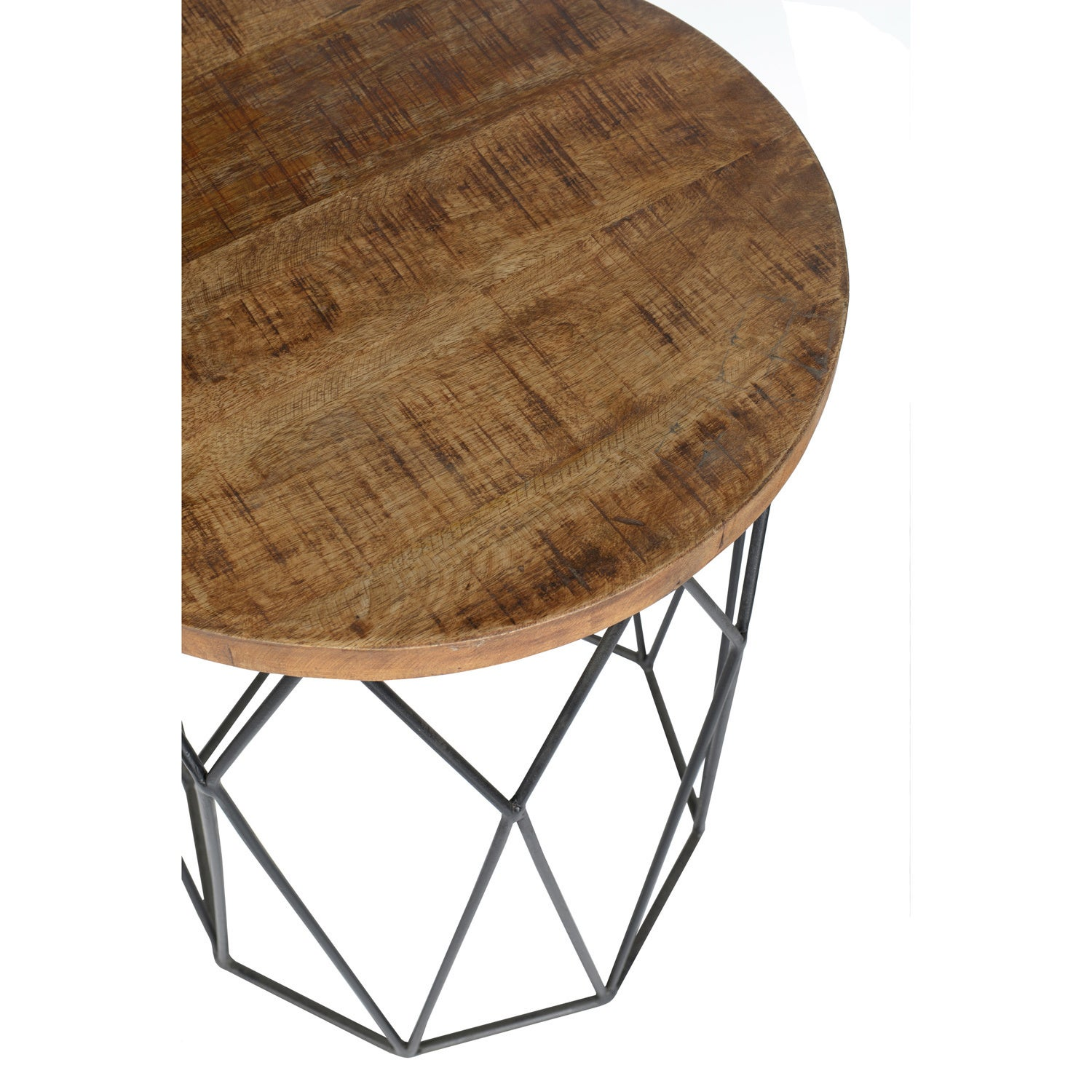 Shop Chester Wood And Iron Geometric Round Side Table By Kosas Home - Geometric round coffee table