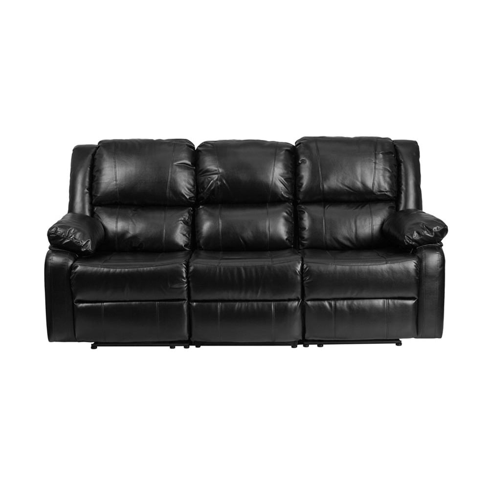 Shop Offex Contemporary Harmony Series Black Leather Sofa With Two Built In  Recliners   Free Shipping Today   Overstock.com   14082306