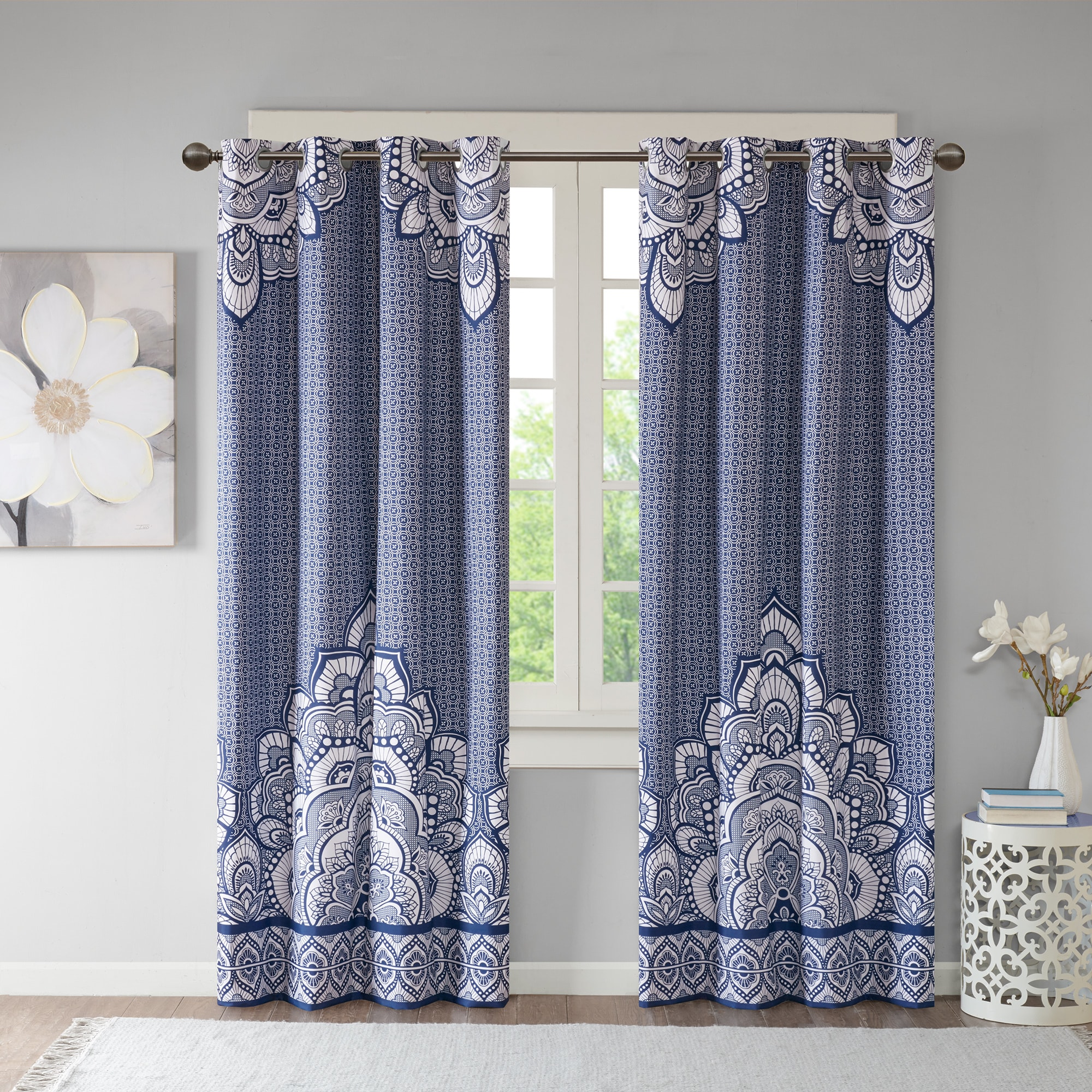 Shop Intelligent Design Simone Printed Lined Blackout Window Curtain Panel