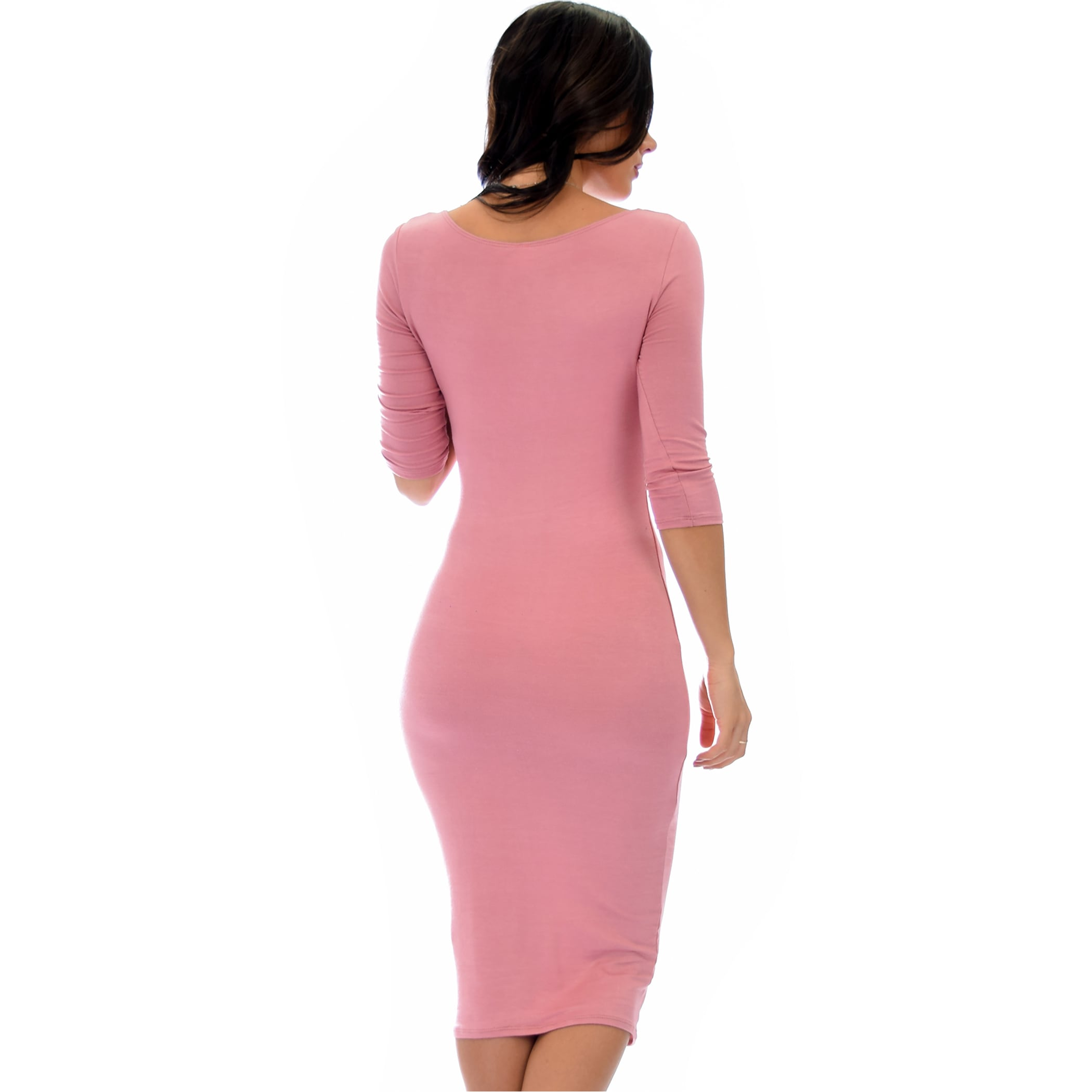 8734892ab0b2 Shop Lyss Loo True 2 You 3/4 Sleeve Midi Dress D2049 - Free Shipping On  Orders Over $45 - Overstock - 14084679