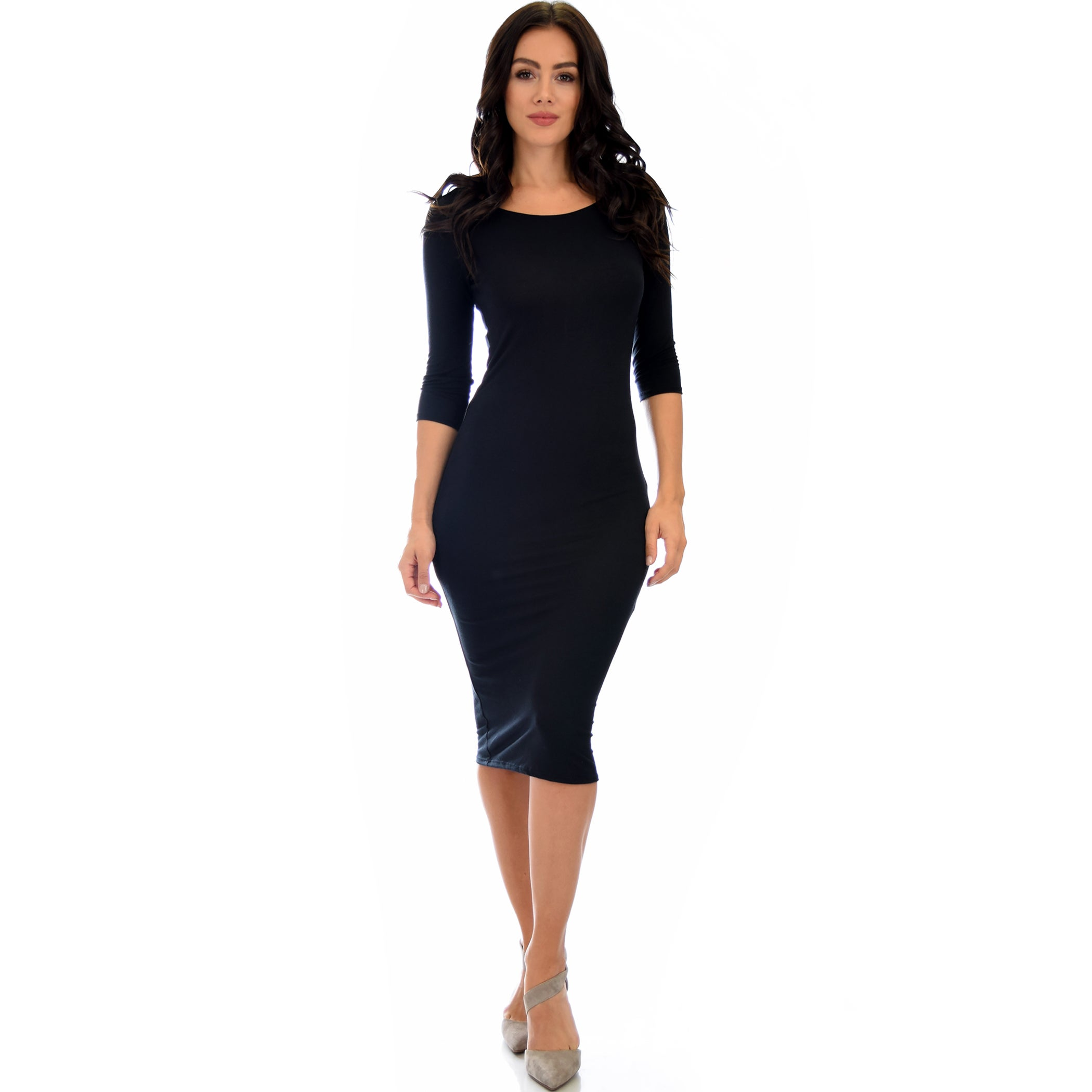 5aa6404e2ac0 Shop Lyss Loo True 2 You 3/4 Sleeve Midi Dress D2049 - Ships To Canada -  Overstock.ca - 14084679