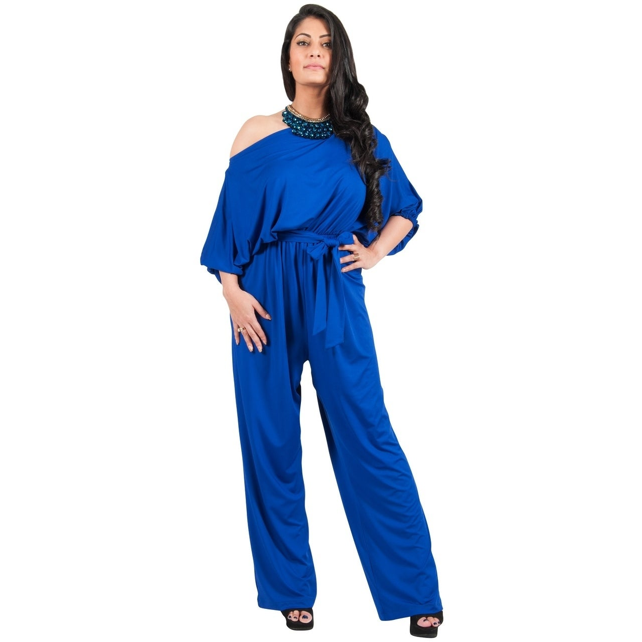 856955bcea2 Shop Adelyn   Vivian Women s Spandex Blend Plus Size One Shoulder Jumpsuit  Romper - Free Shipping Today - Overstock - 14086294