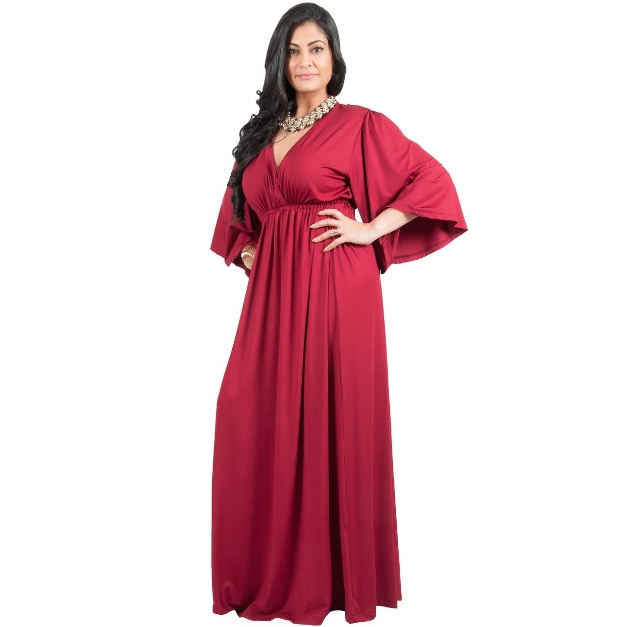 83b397263dd Shop Adelyn   Vivian Women s Plus-size Long Kimono Formal Flowy Evening  Maxi Dress - Free Shipping Today - Overstock - 14086303